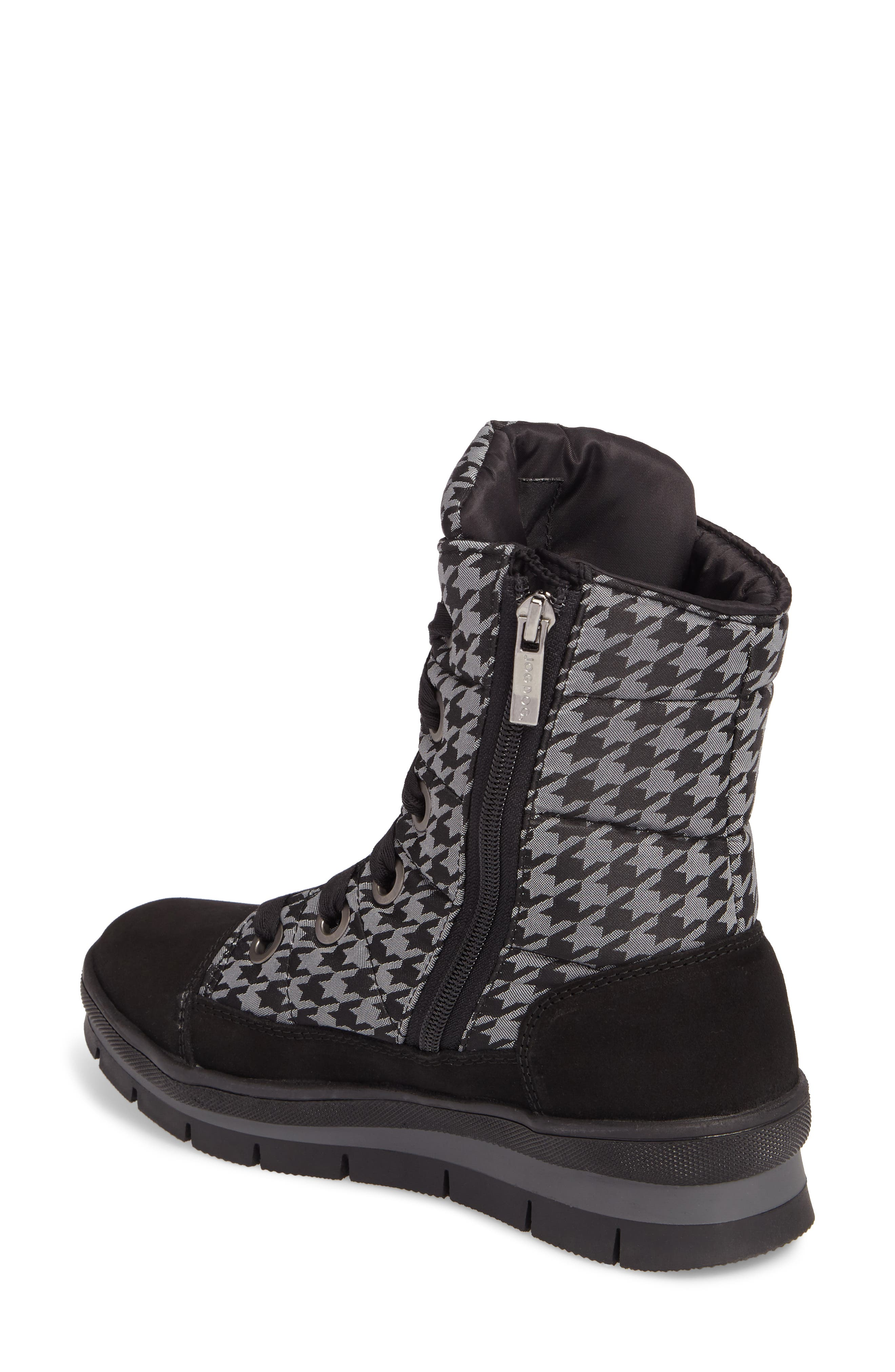 Meribel Waterproof Channel Quilted Lace Up Sneaker Boot,                             Alternate thumbnail 2, color,                             Black Pull Pied