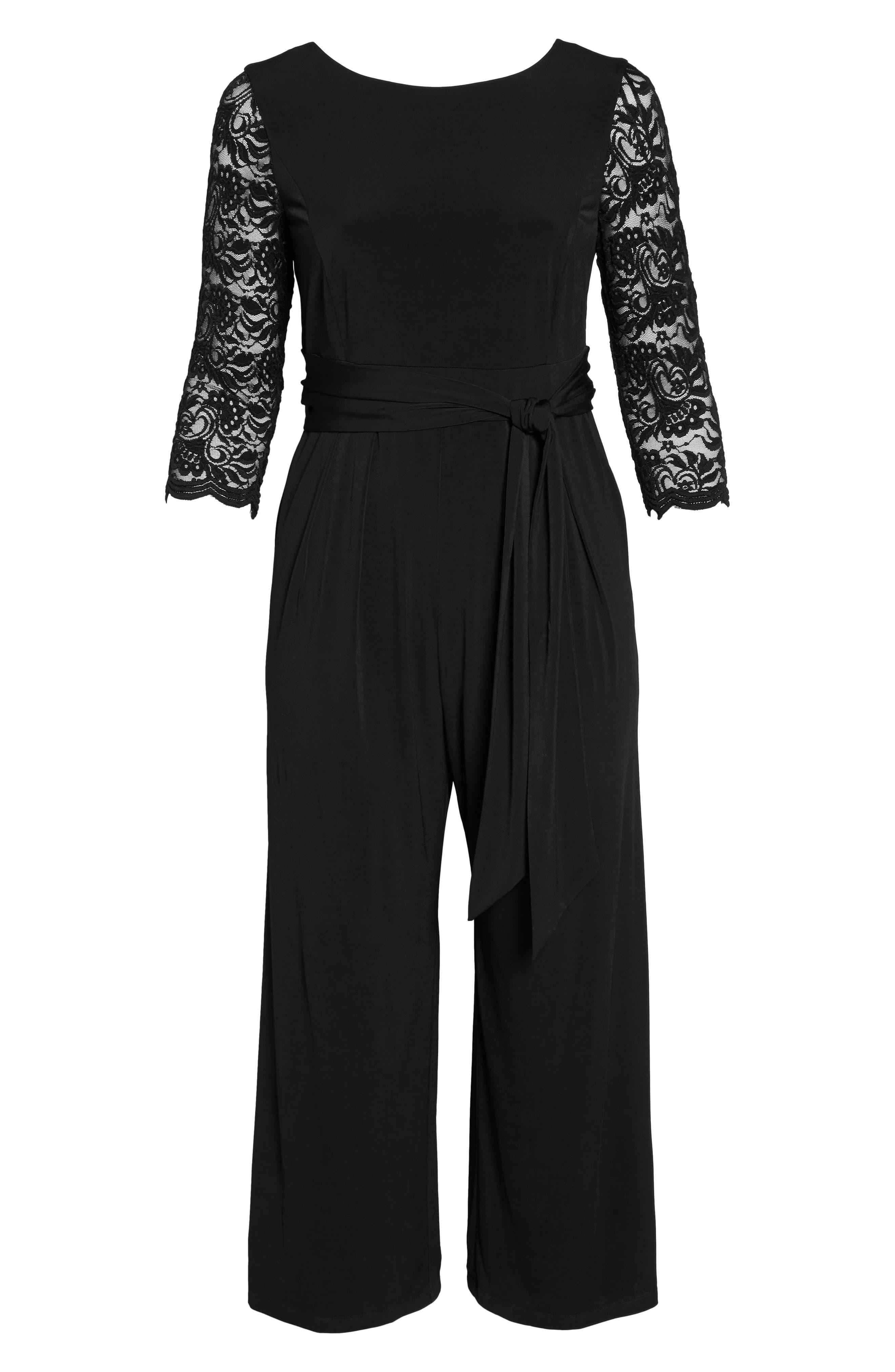 Lace Sleeve Jumpsuit,                             Alternate thumbnail 6, color,                             Black