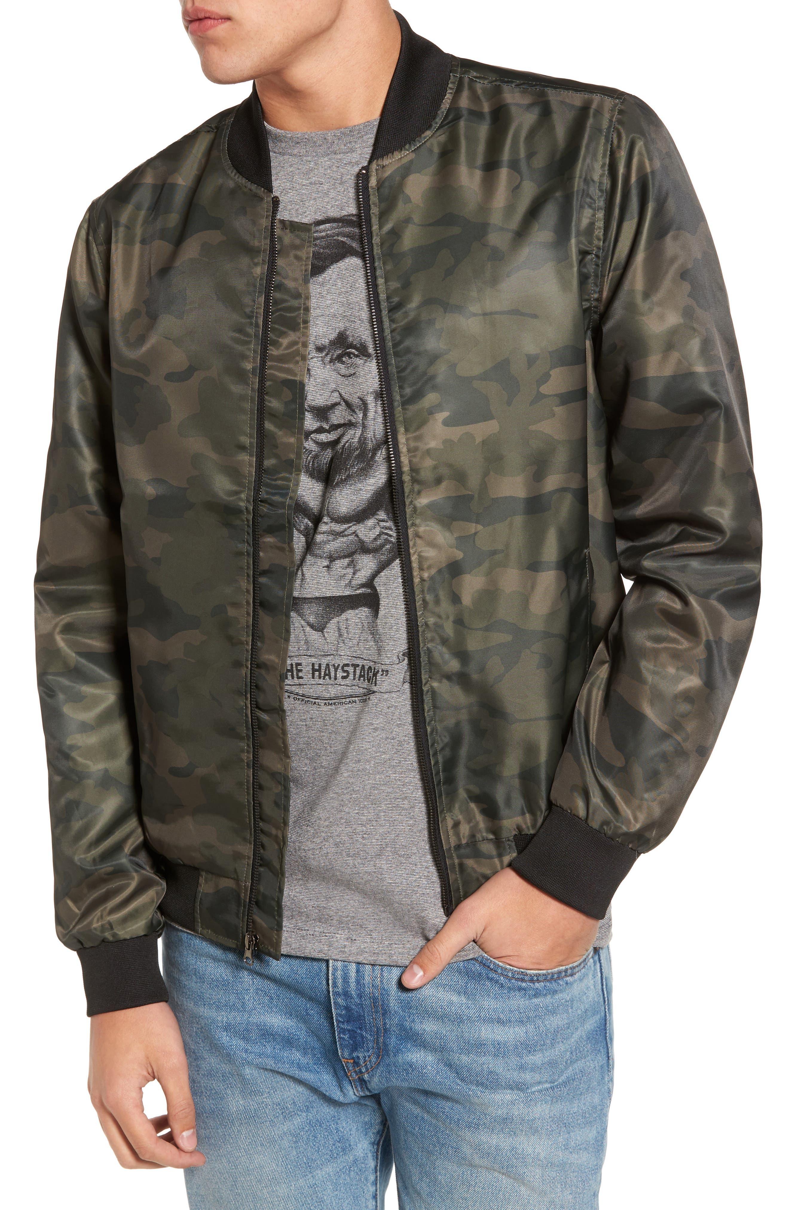 Nylon Bomber Jacket,                         Main,                         color, Olive Dark Camouflage