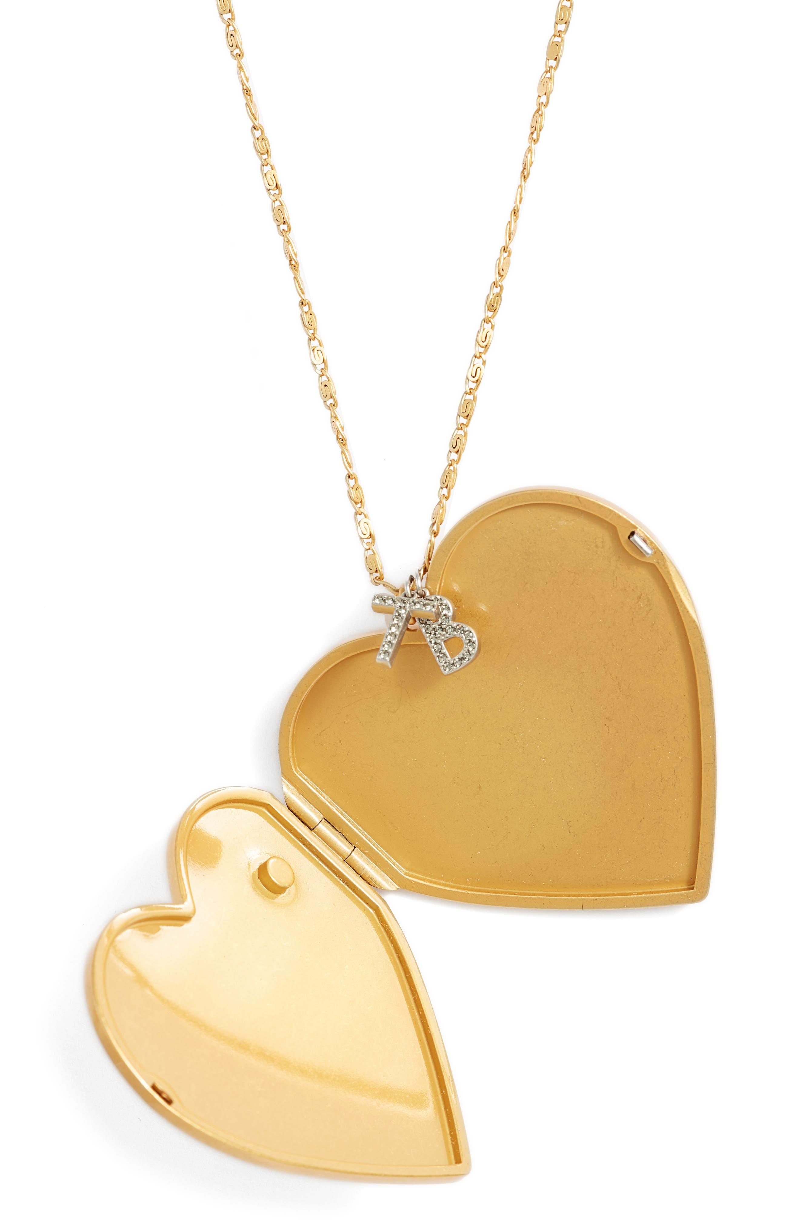 Heart Locket Pendant Necklace,                             Alternate thumbnail 3, color,                             Vintage Gold
