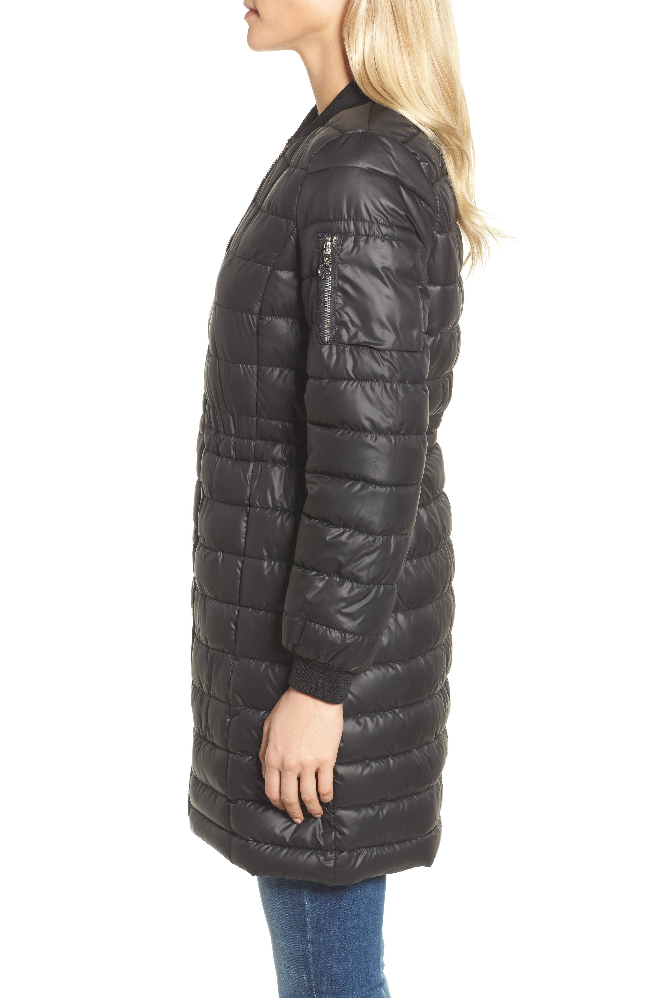 Lightweight Quilted Puffer Coat,                             Alternate thumbnail 3, color,                             Black