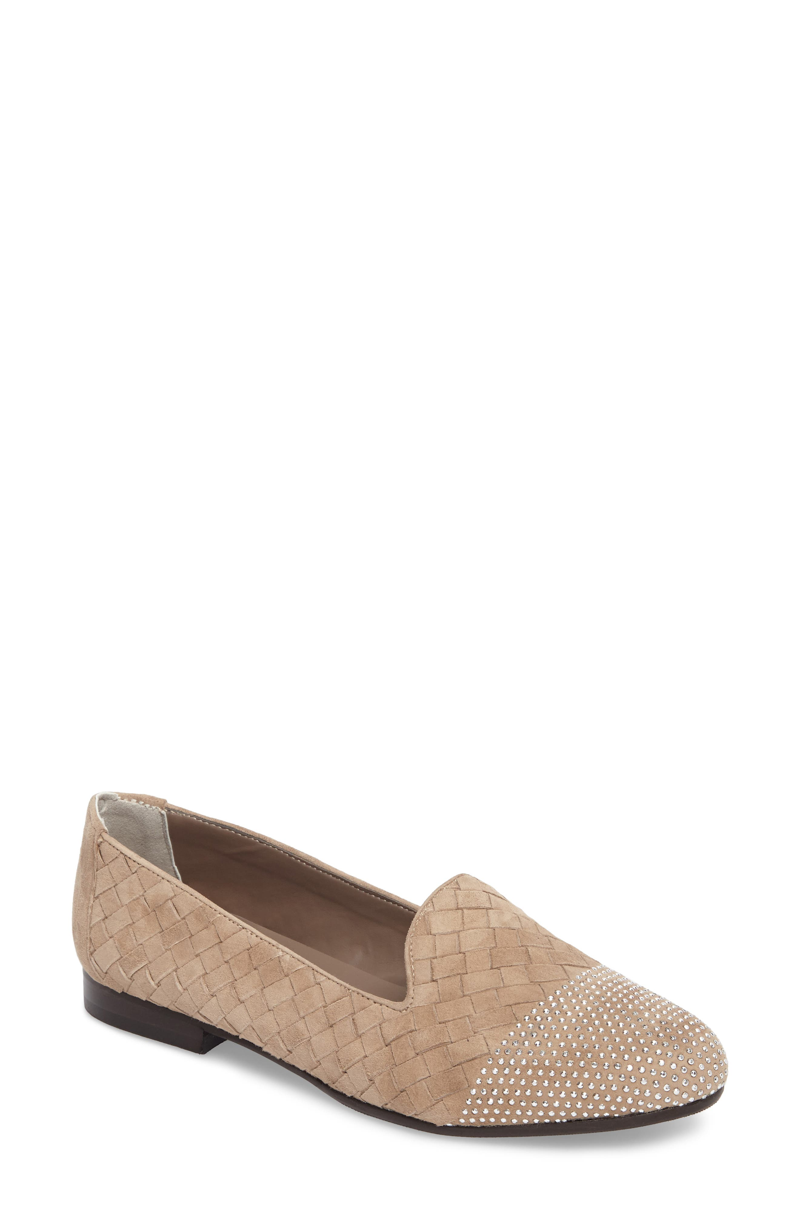 Nicia Flat,                             Main thumbnail 1, color,                             Light Taupe Suede