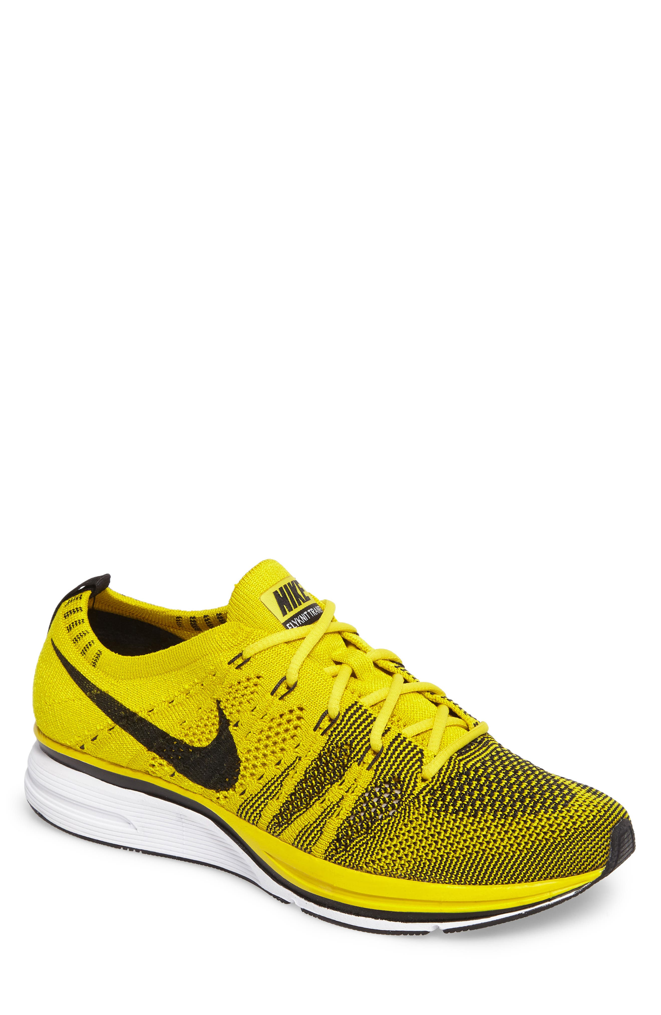NikeLab Flyknit Trainer Sneaker,                         Main,                         color, Bright Citron/ Black/ White