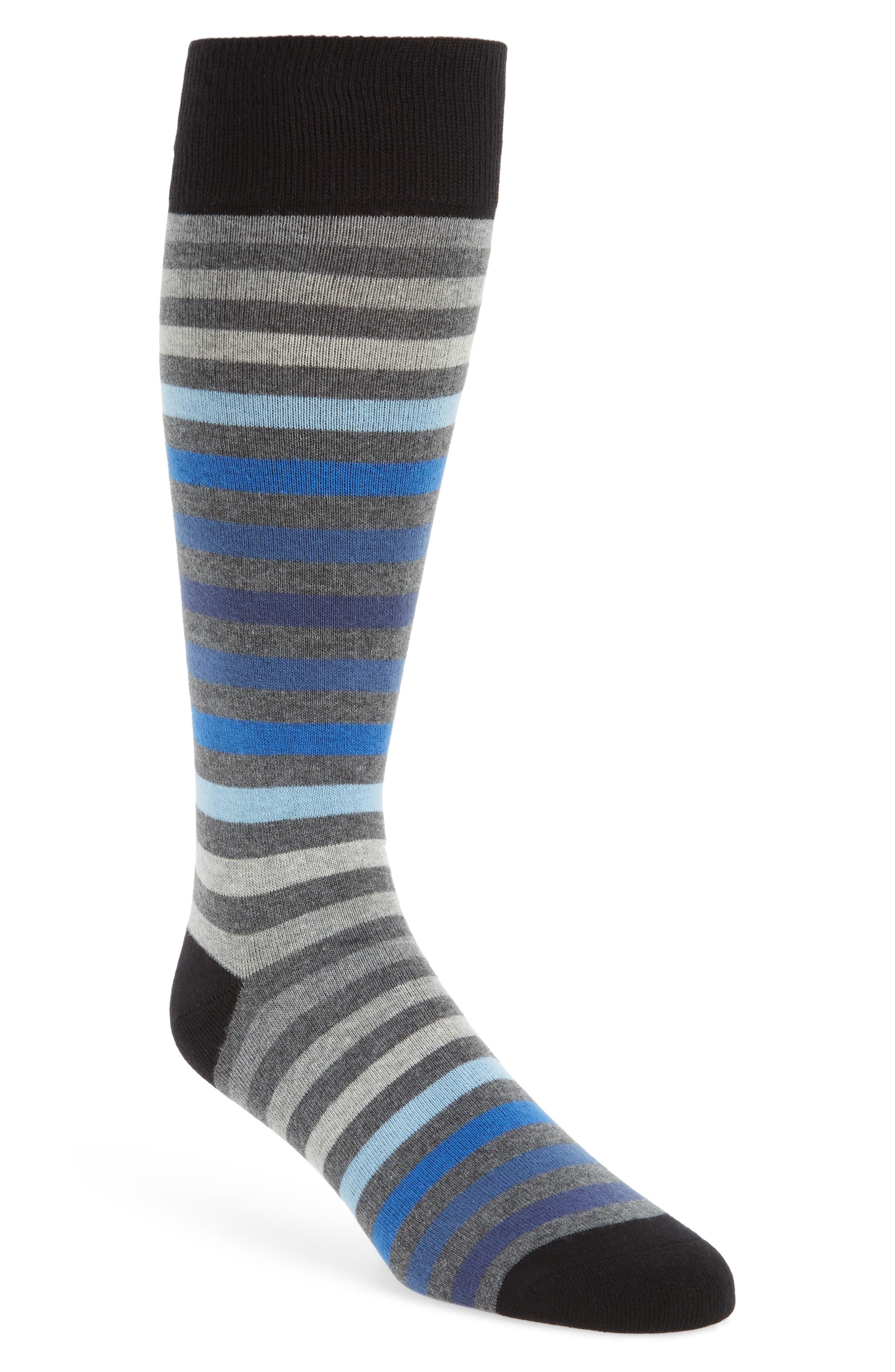 Heather Stripe Socks,                         Main,                         color, Black