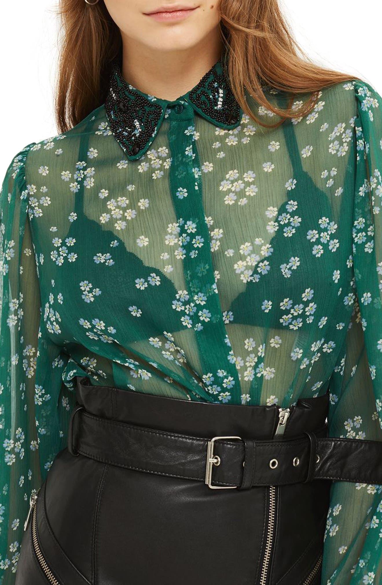 Topshop Beaded Collar Sheer Shirt