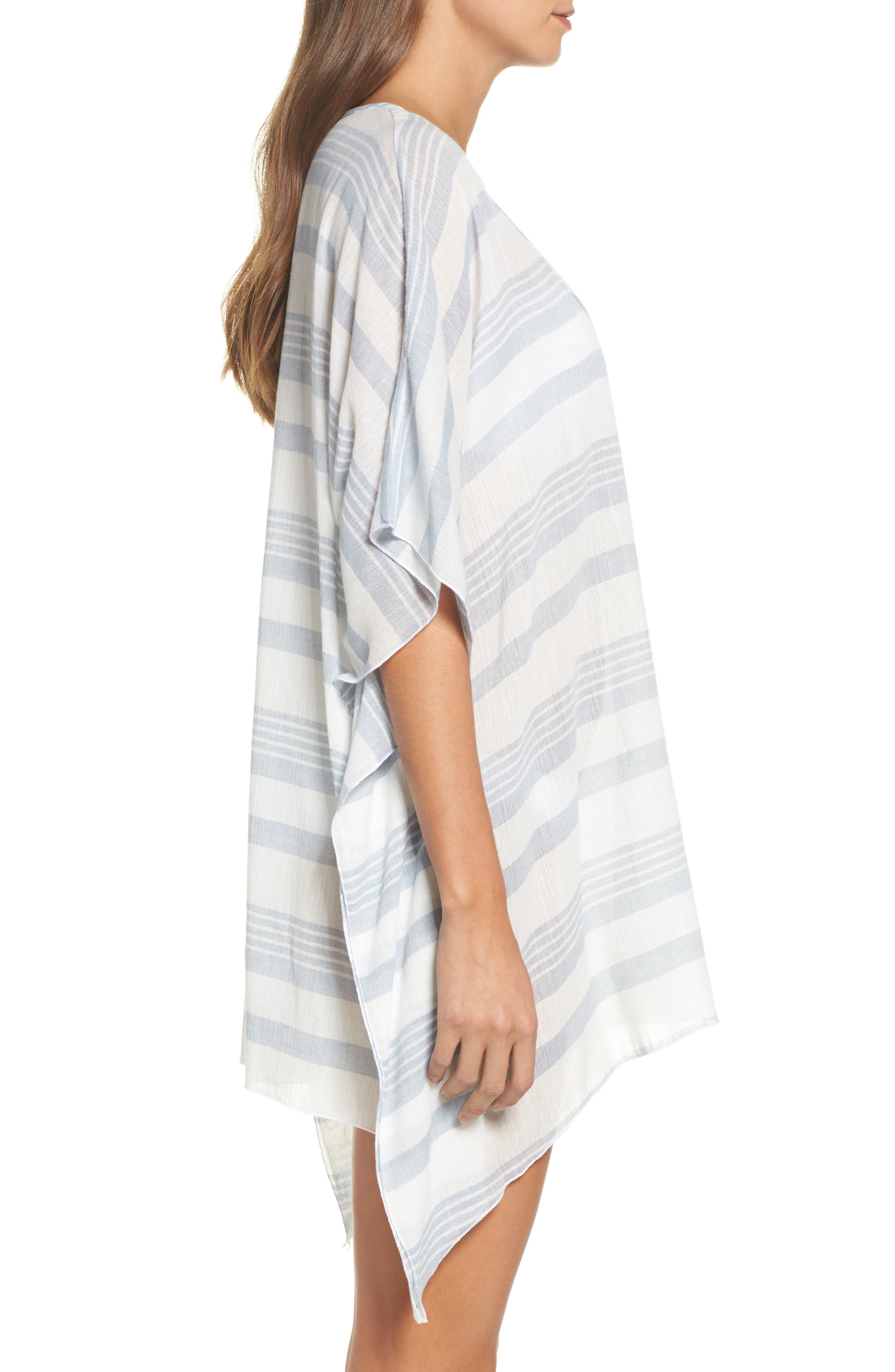 Stripe Poncho Cover-Up,                             Alternate thumbnail 3, color,                             Dusty Blue Stripe