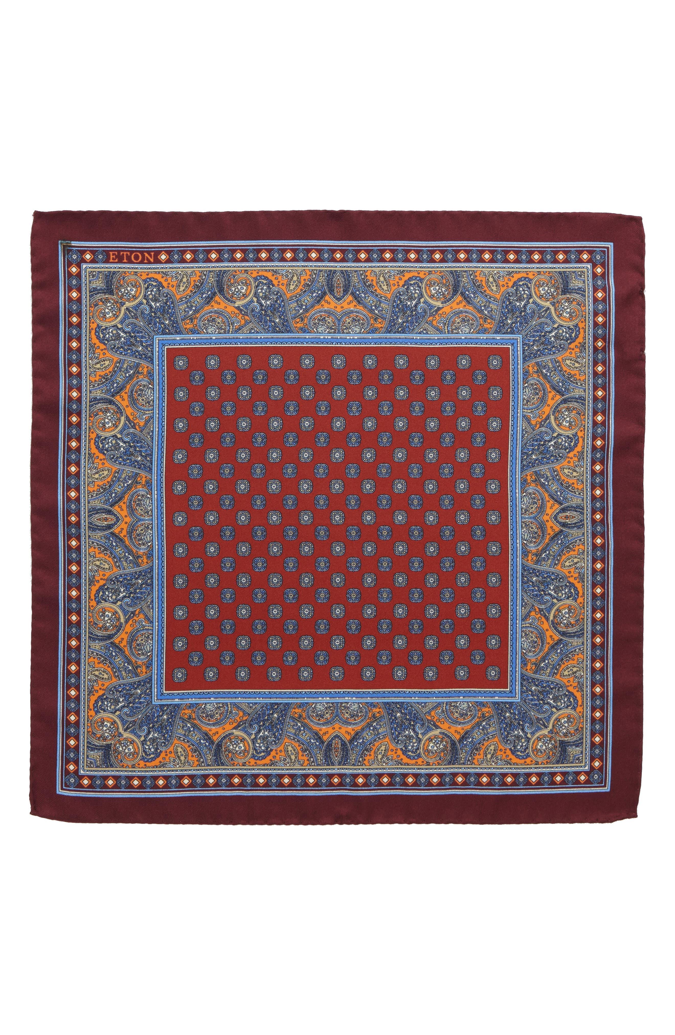 Paisley Silk Pocket Square,                             Alternate thumbnail 2, color,                             Orange