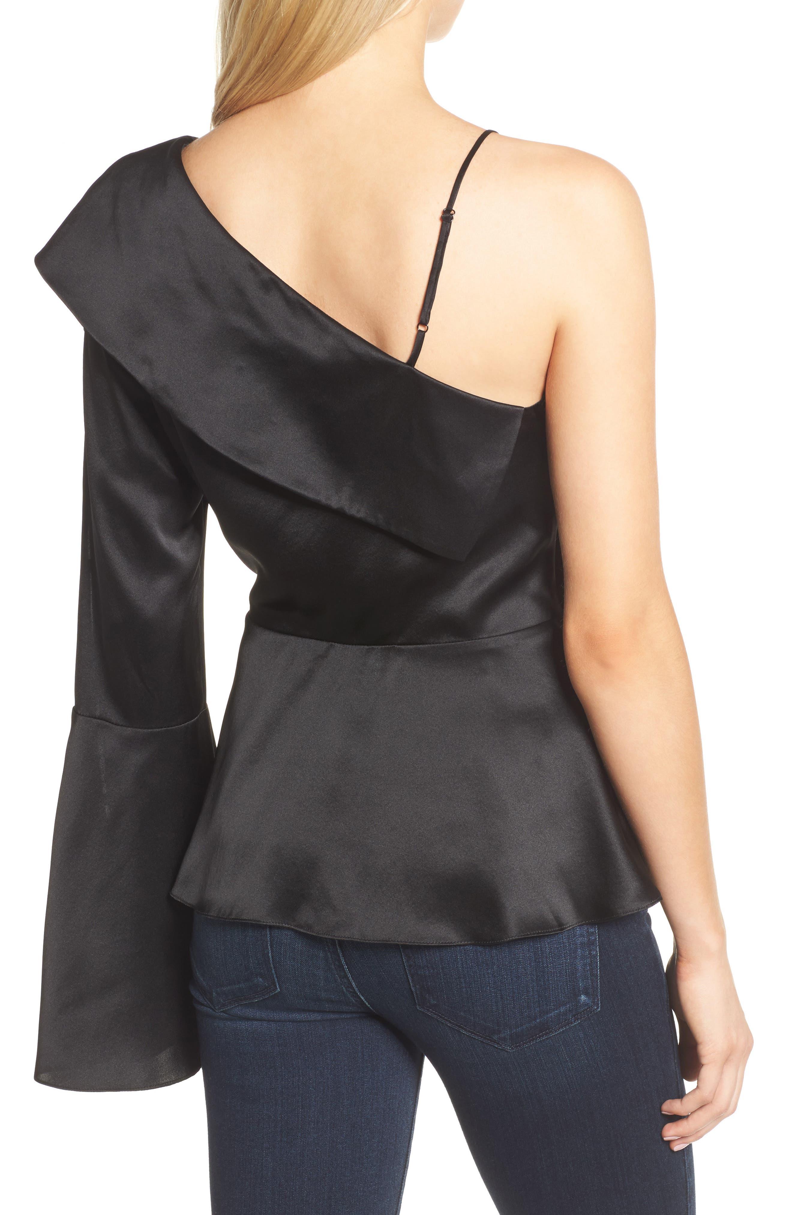 Cache One-Shoulder Silk Blouse,                             Alternate thumbnail 2, color,                             Black