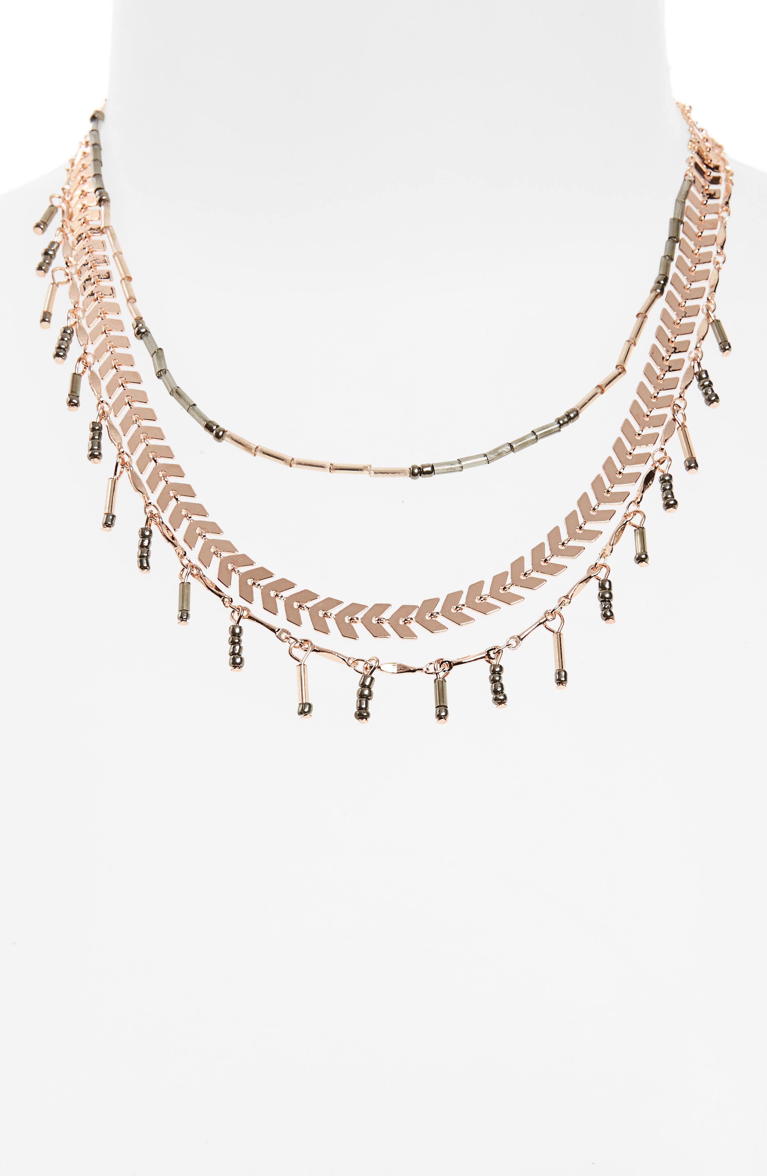 Multistrand Layered Necklace,                         Main,                         color, Rose Gold