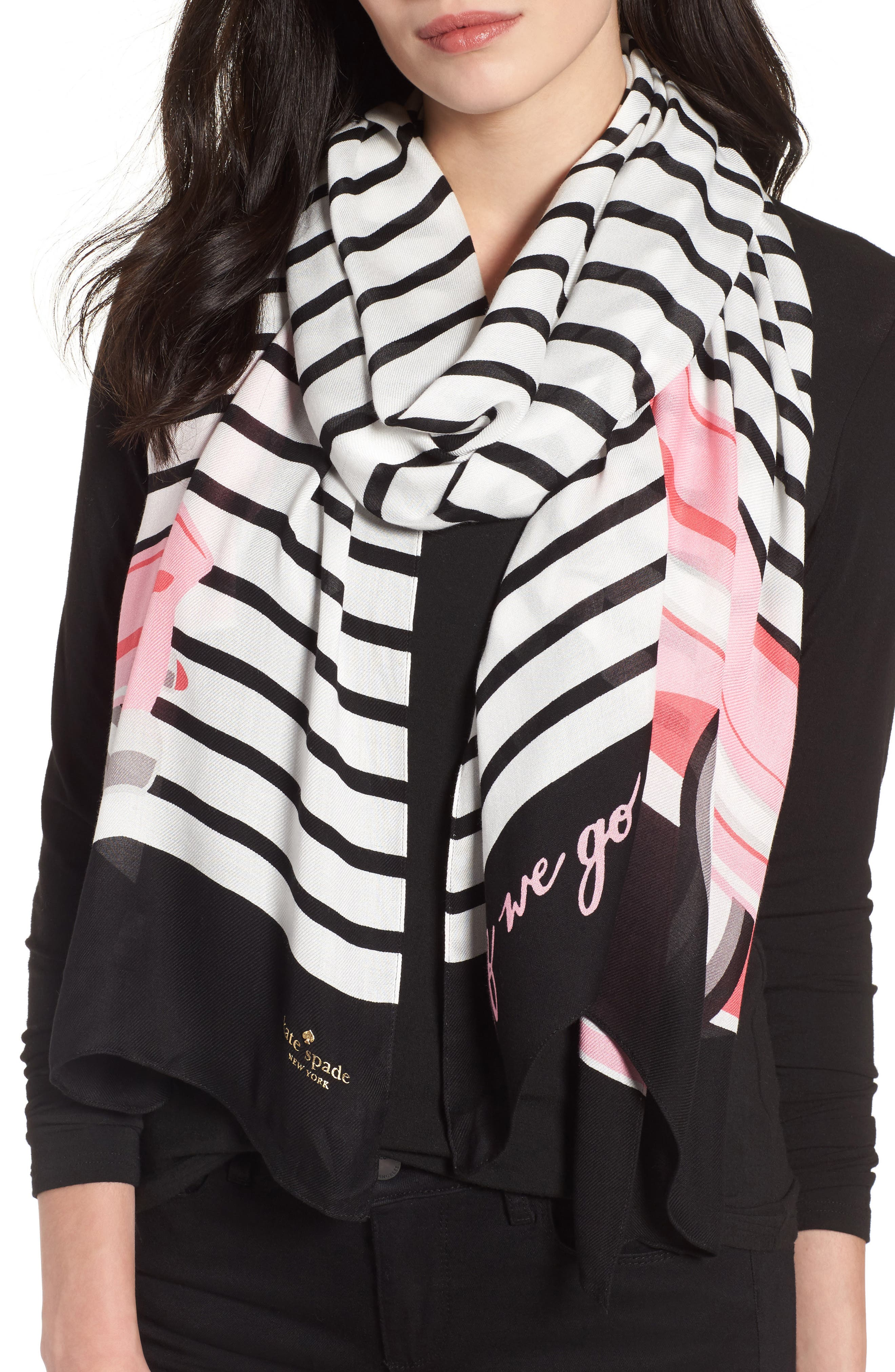 off we go oblong twill scarf,                         Main,                         color, Black