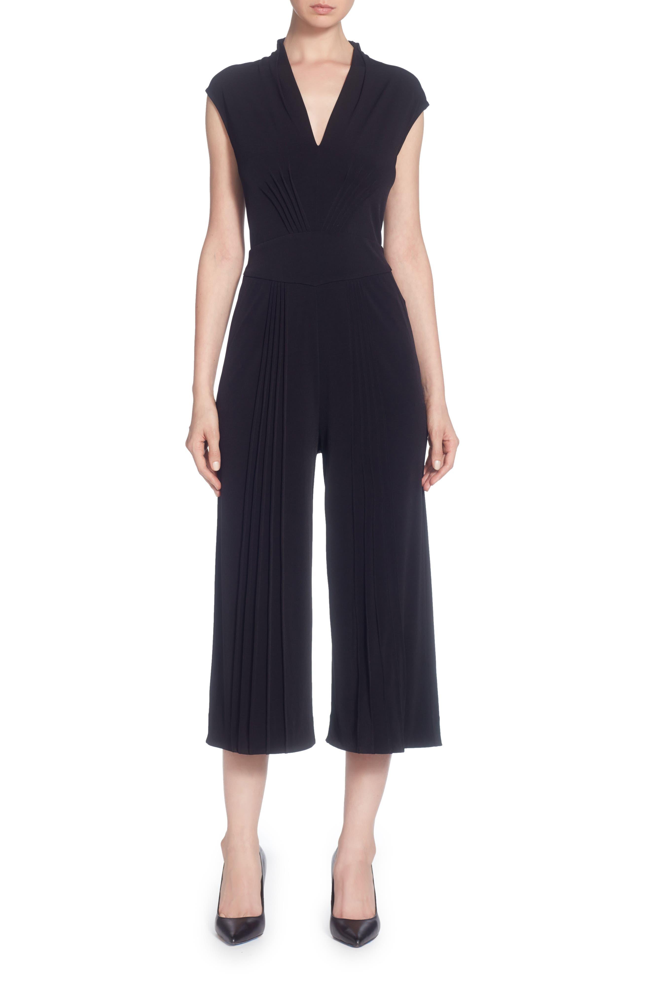 Suraya Cropped V-Neck Jumpsuit,                         Main,                         color, Black