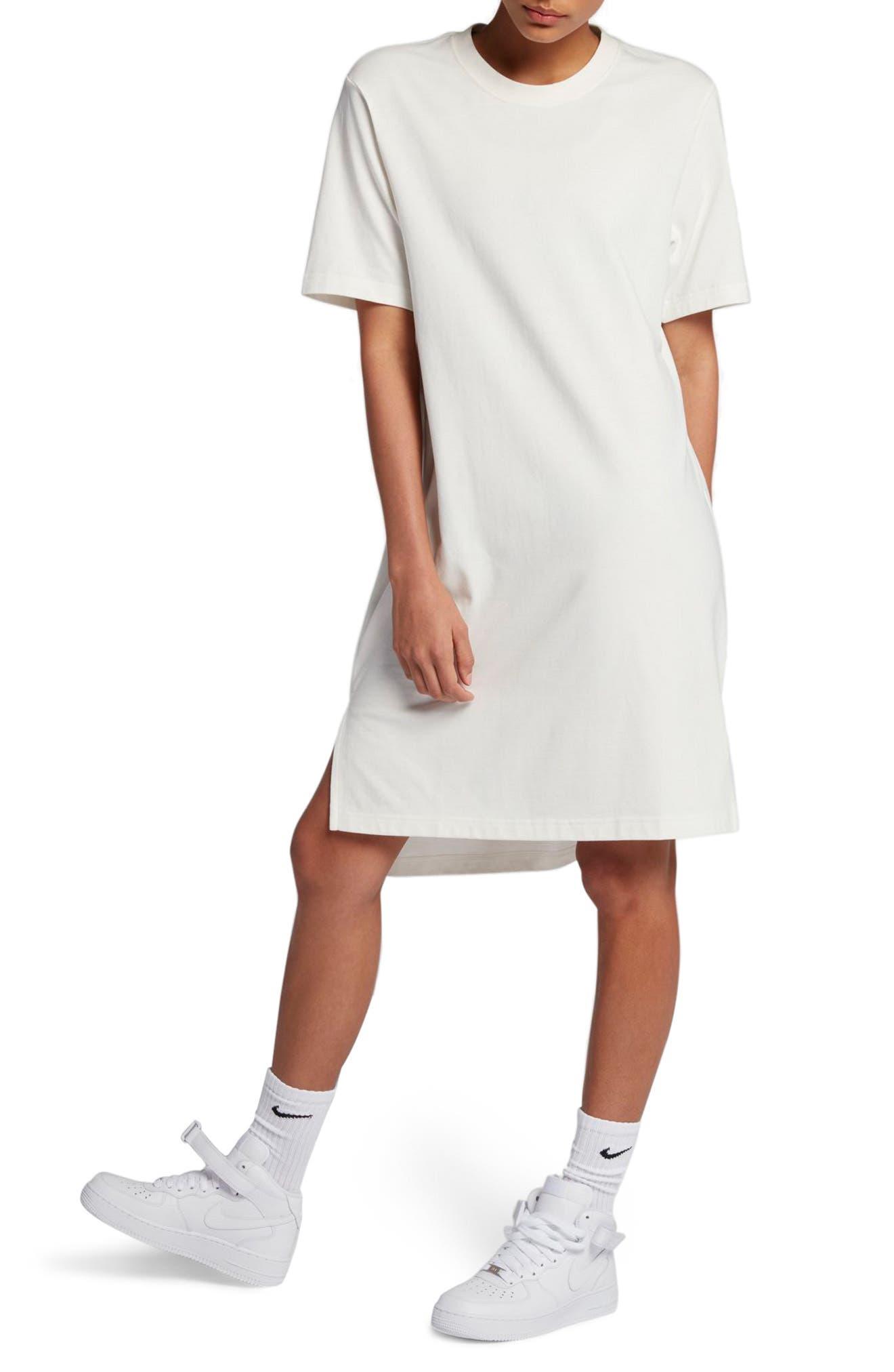 NikeLab Essentials T-Shirt Dress,                             Main thumbnail 1, color,                             Sail/ Black