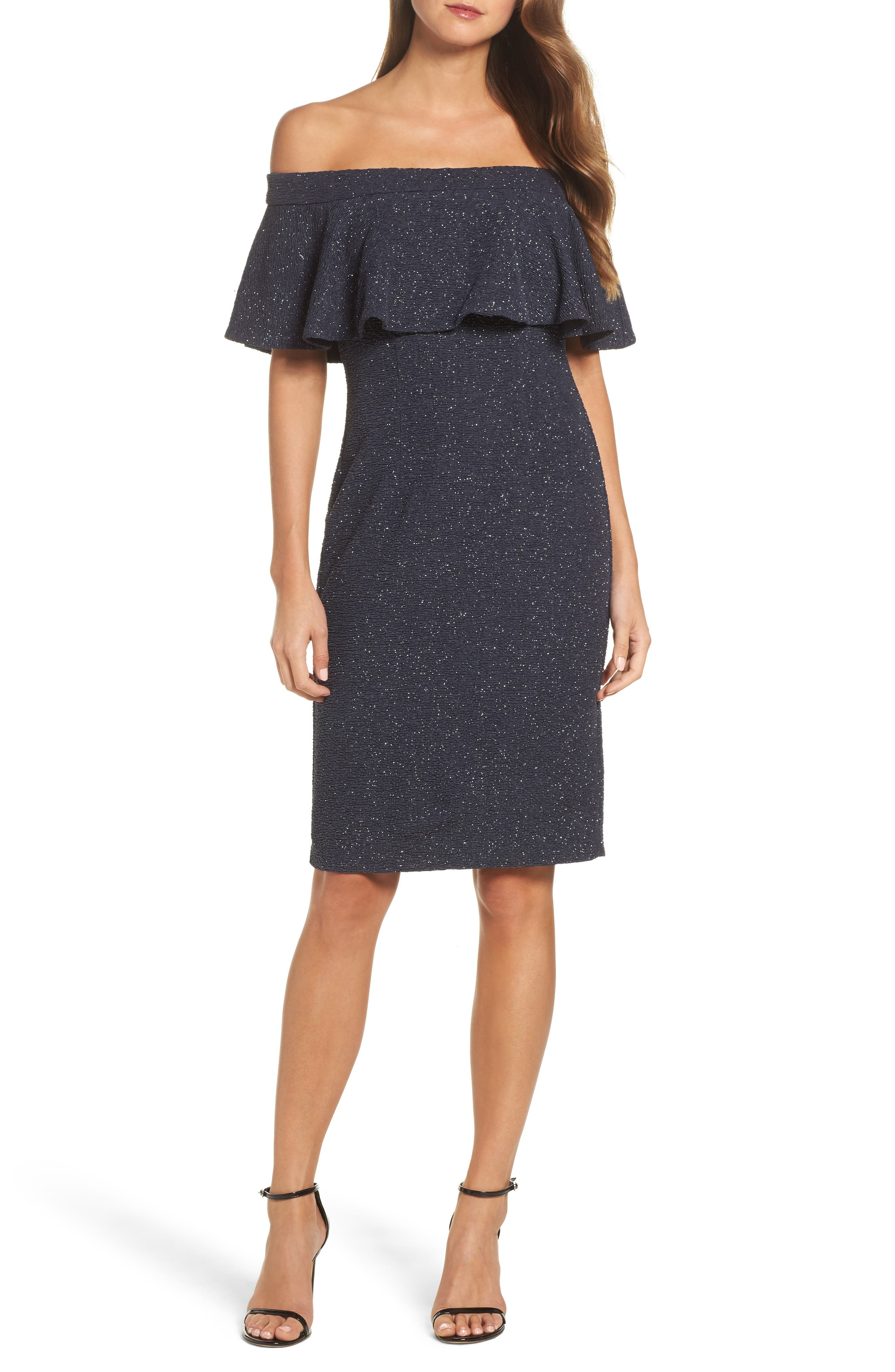 Glitter Knit Ruffle Off the Shoulder Dress,                         Main,                         color, Steel