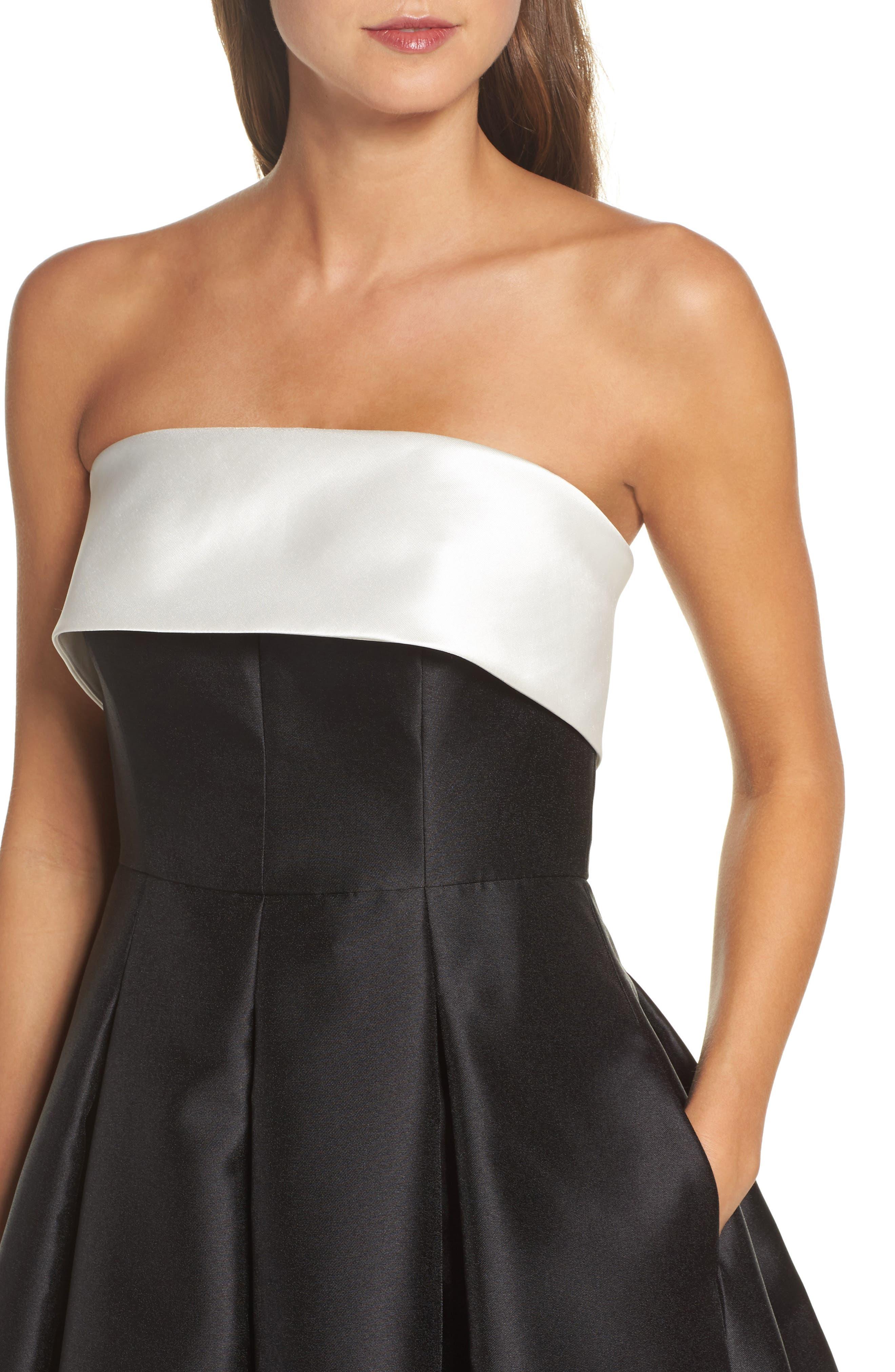 Strapless Gown,                             Alternate thumbnail 4, color,                             Ivory Black
