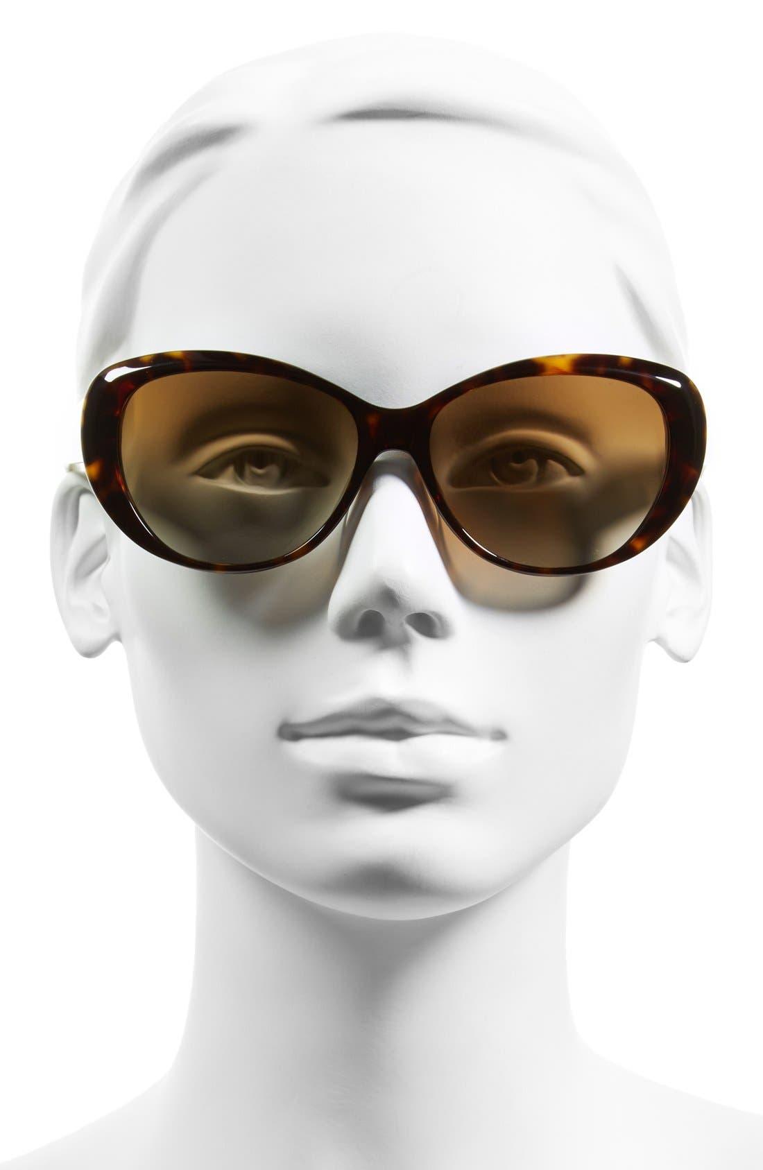 56mm Polarized Cat Eye Sunglasses,                             Alternate thumbnail 2, color,                             Dark Tortoise/ Polar