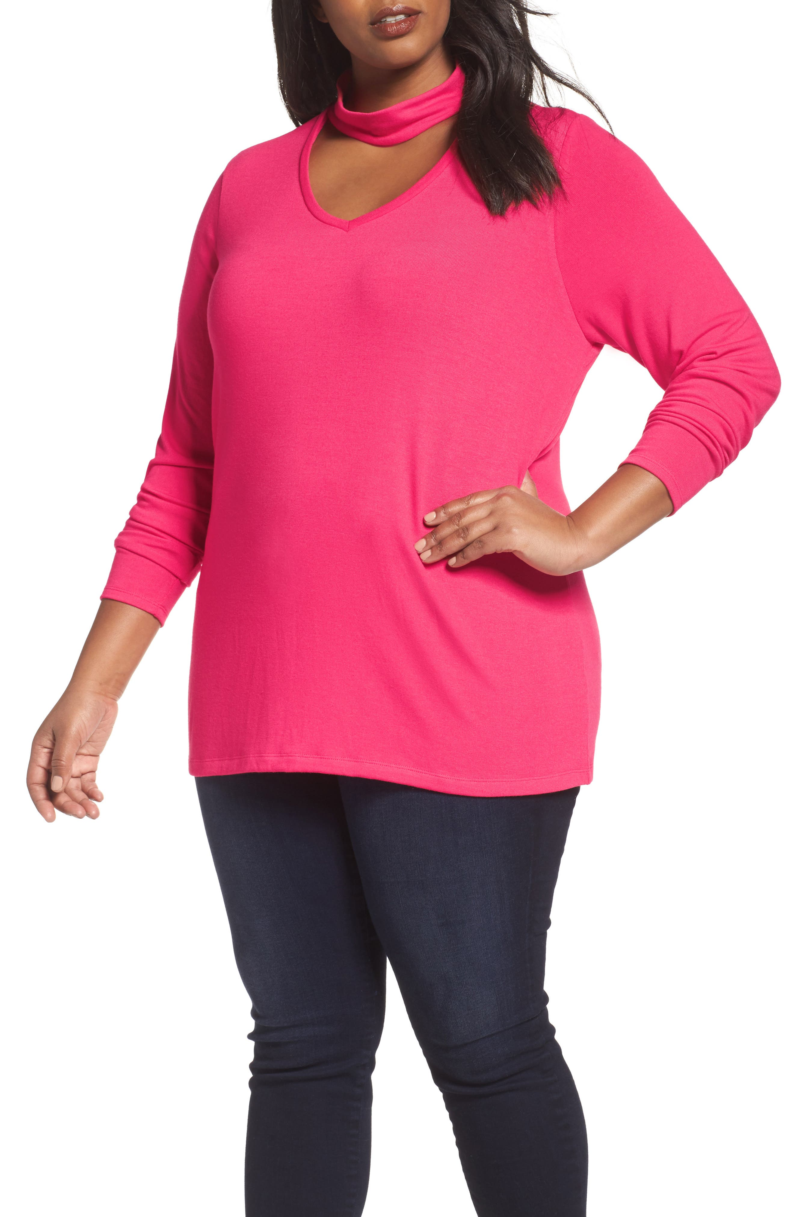 Choker Neck Top,                         Main,                         color, Pink Bright