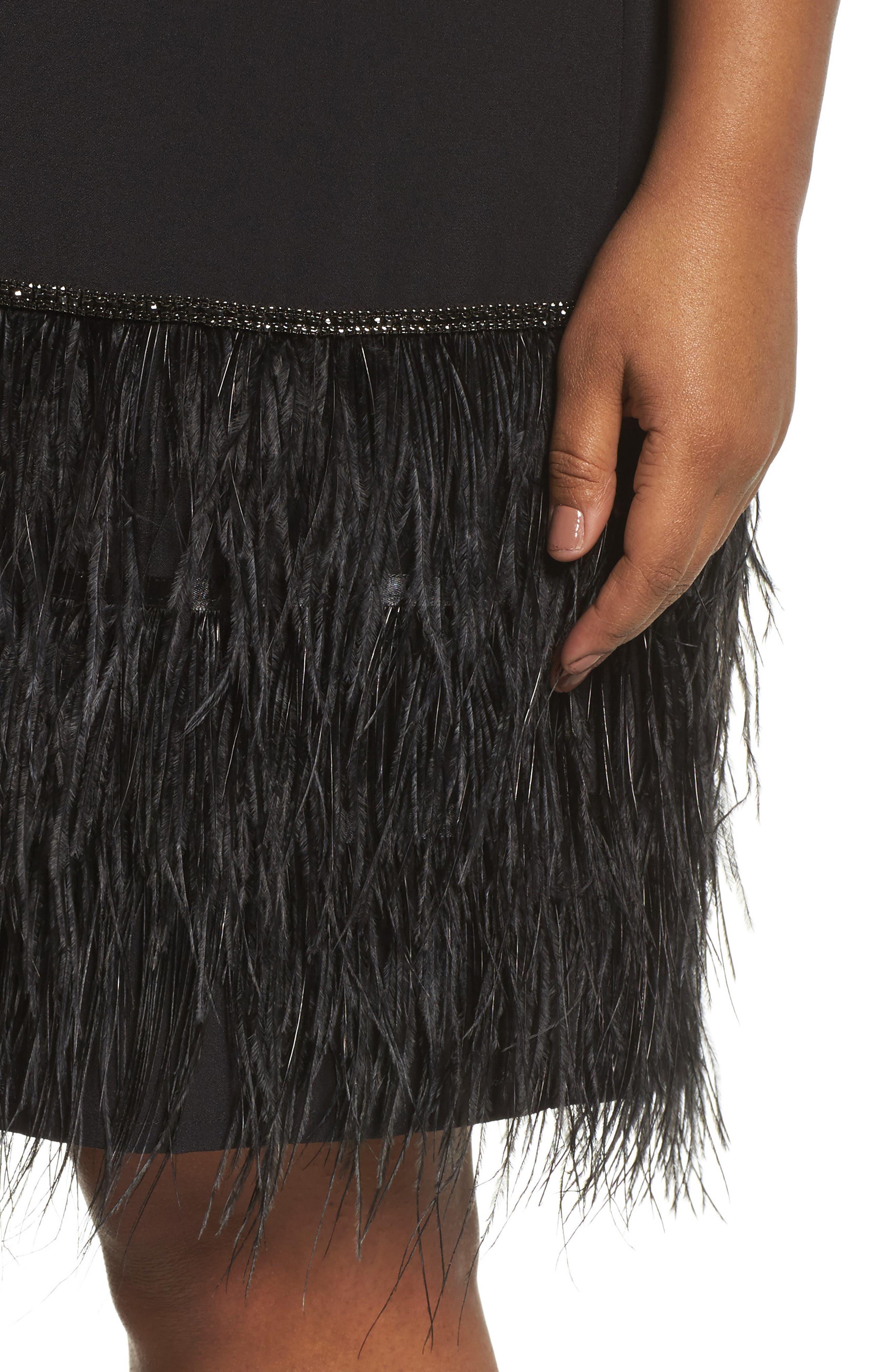 Feather Hem Shift Dress,                             Alternate thumbnail 4, color,                             Black