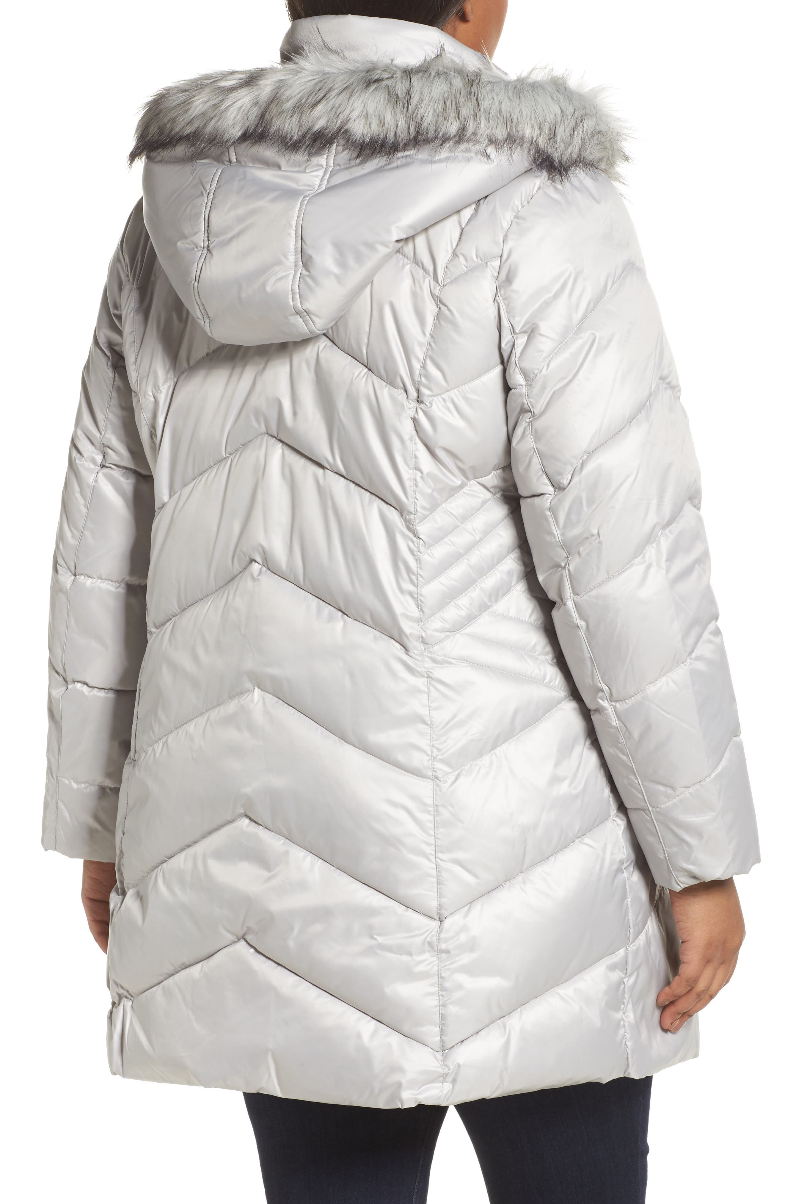 Faux Fur Trim Quilted Parka,                             Alternate thumbnail 2, color,                             Pearl