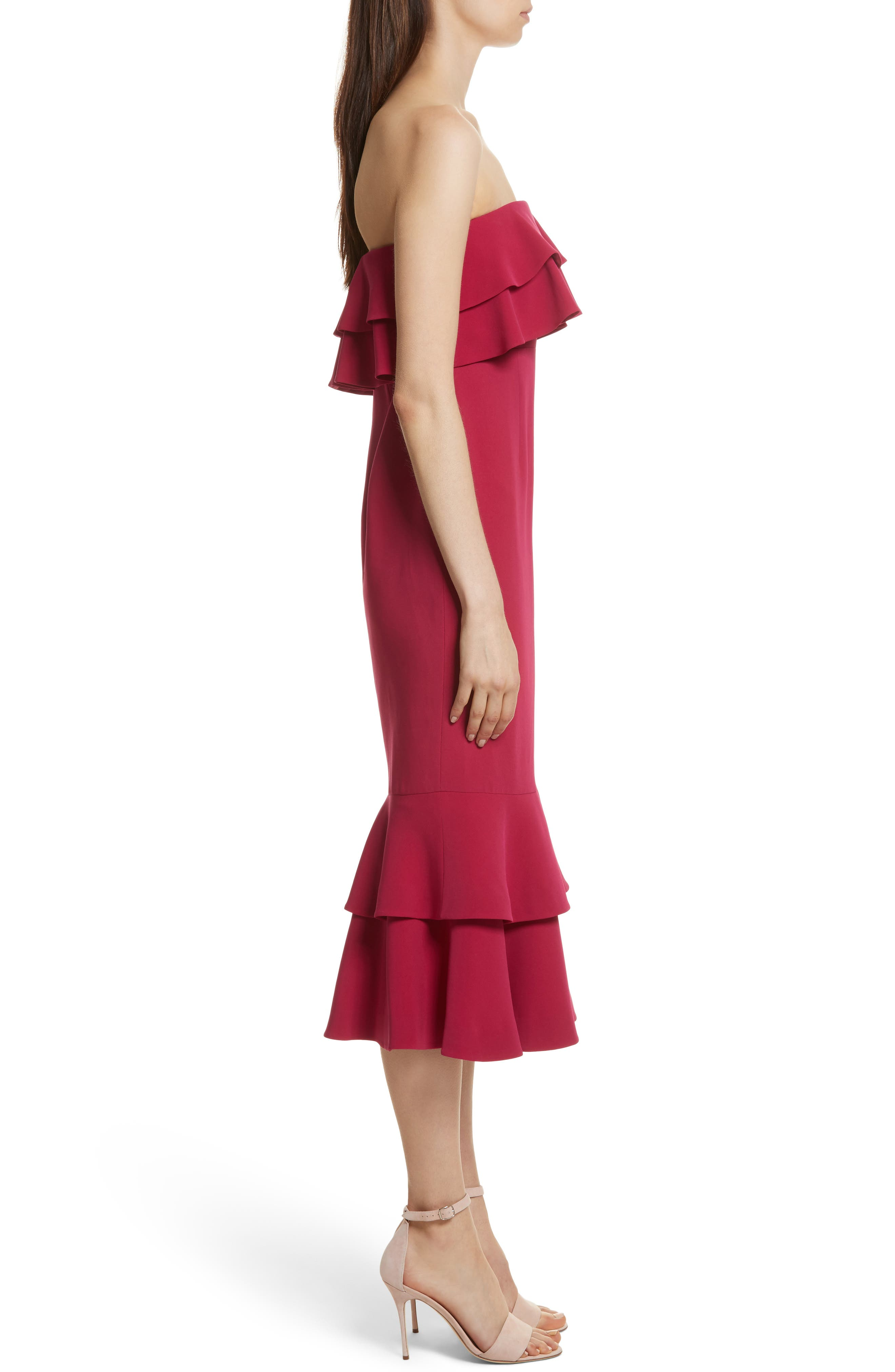 Ezana Ruffle Strapless Mermaid Dress,                             Alternate thumbnail 3, color,                             Cerise