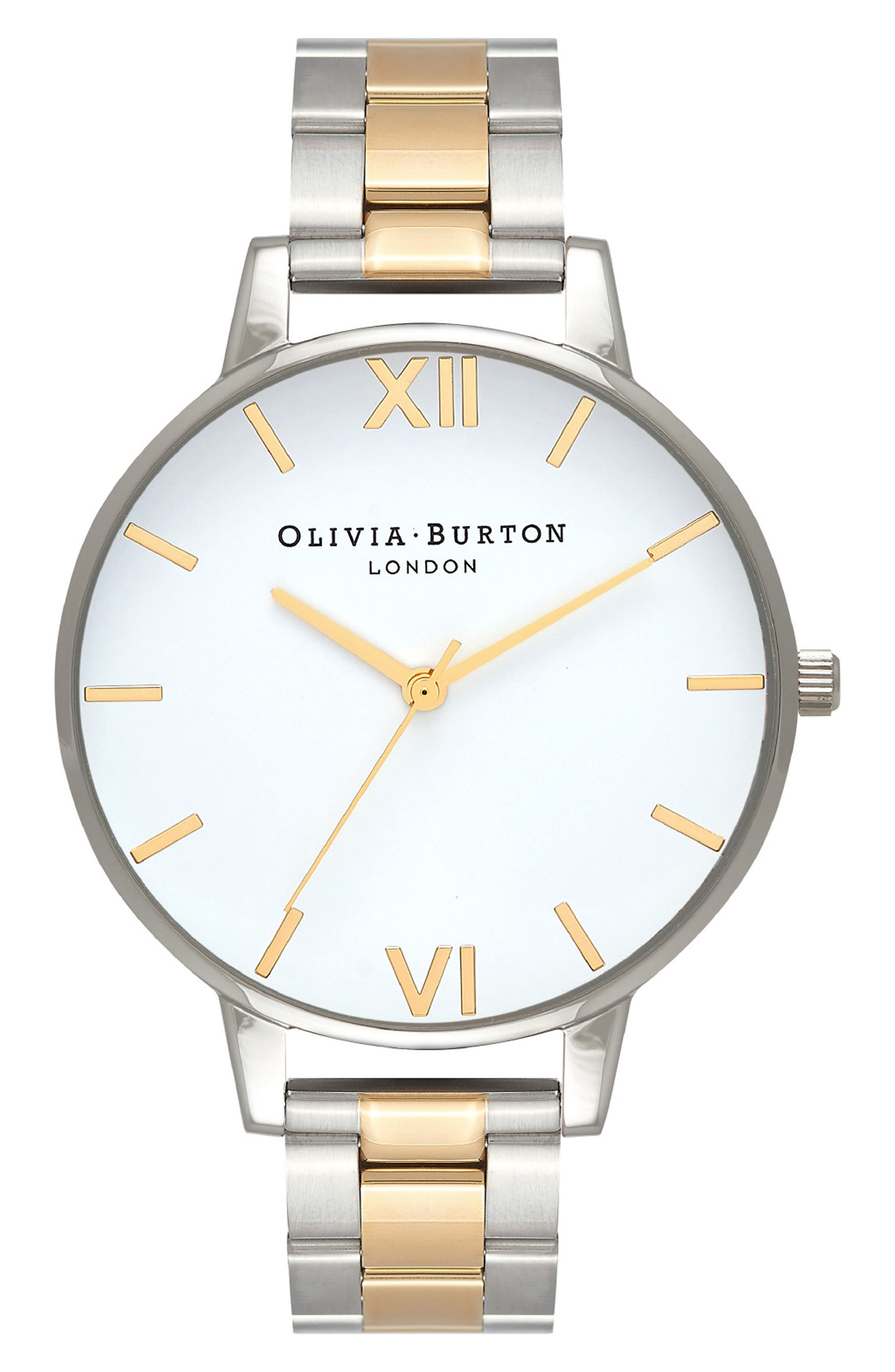 Big Dial Bracelet Watch, 38mm,                             Main thumbnail 1, color,                             Silver/ White/ Gold
