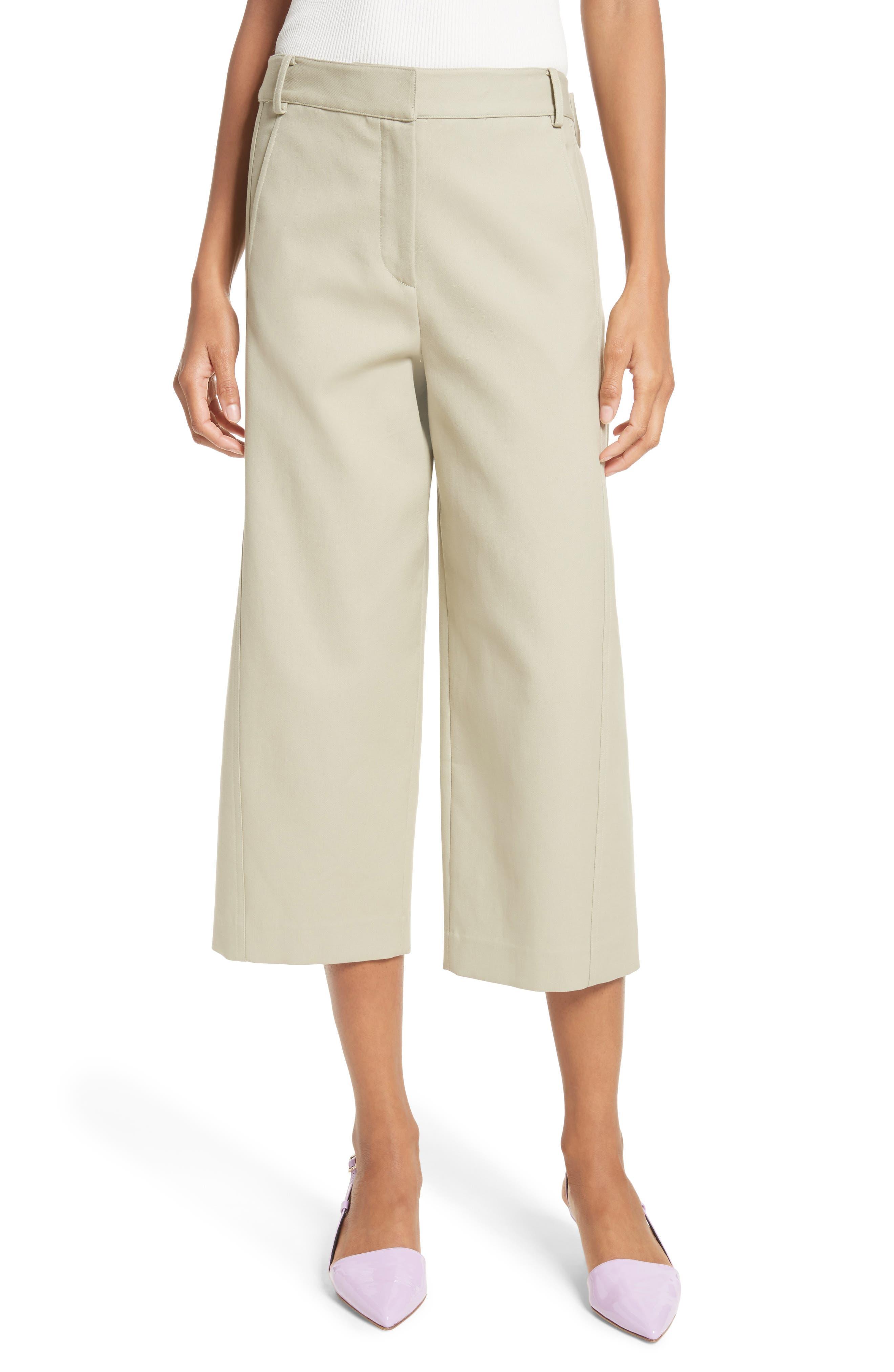 Cropped Cotton Pants,                         Main,                         color, Moss