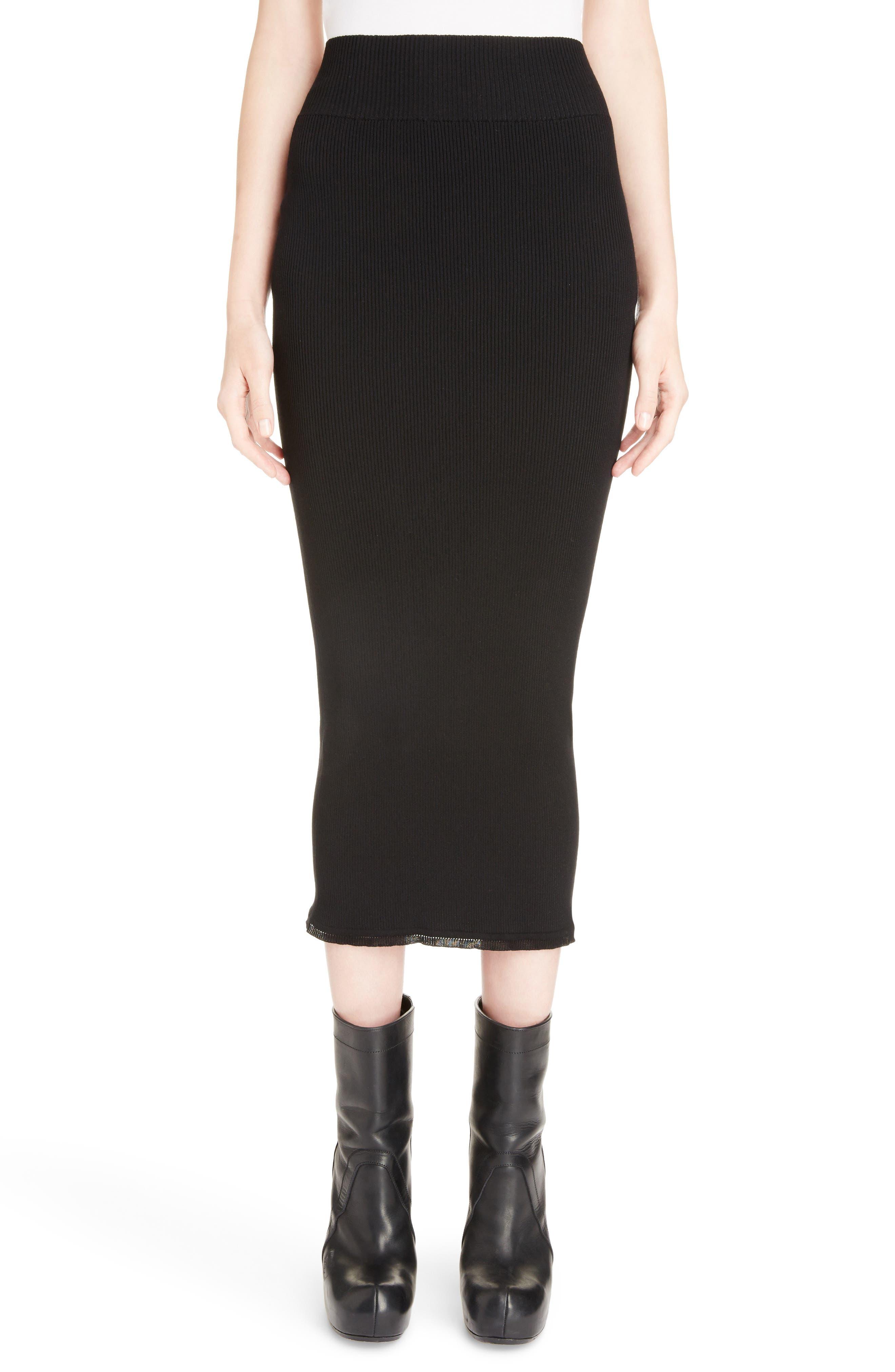 Stretch Knit Midi Skirt,                             Main thumbnail 1, color,                             Black