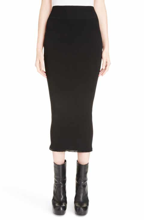 Rick Owens Stretch Knit Midi Skirt
