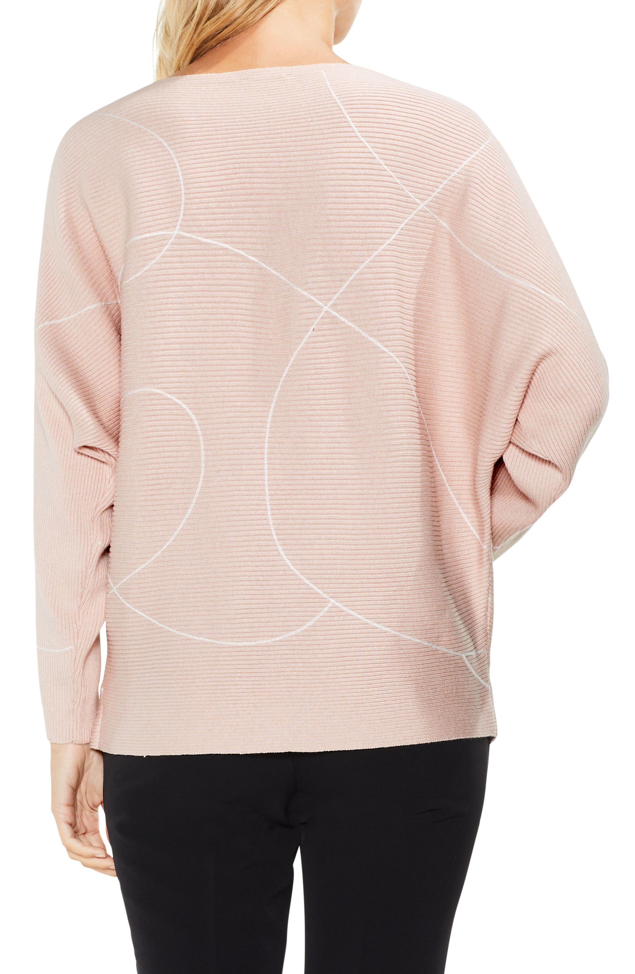 Ink Swirl Ribbed Sweater,                             Alternate thumbnail 2, color,                             Rose Buff