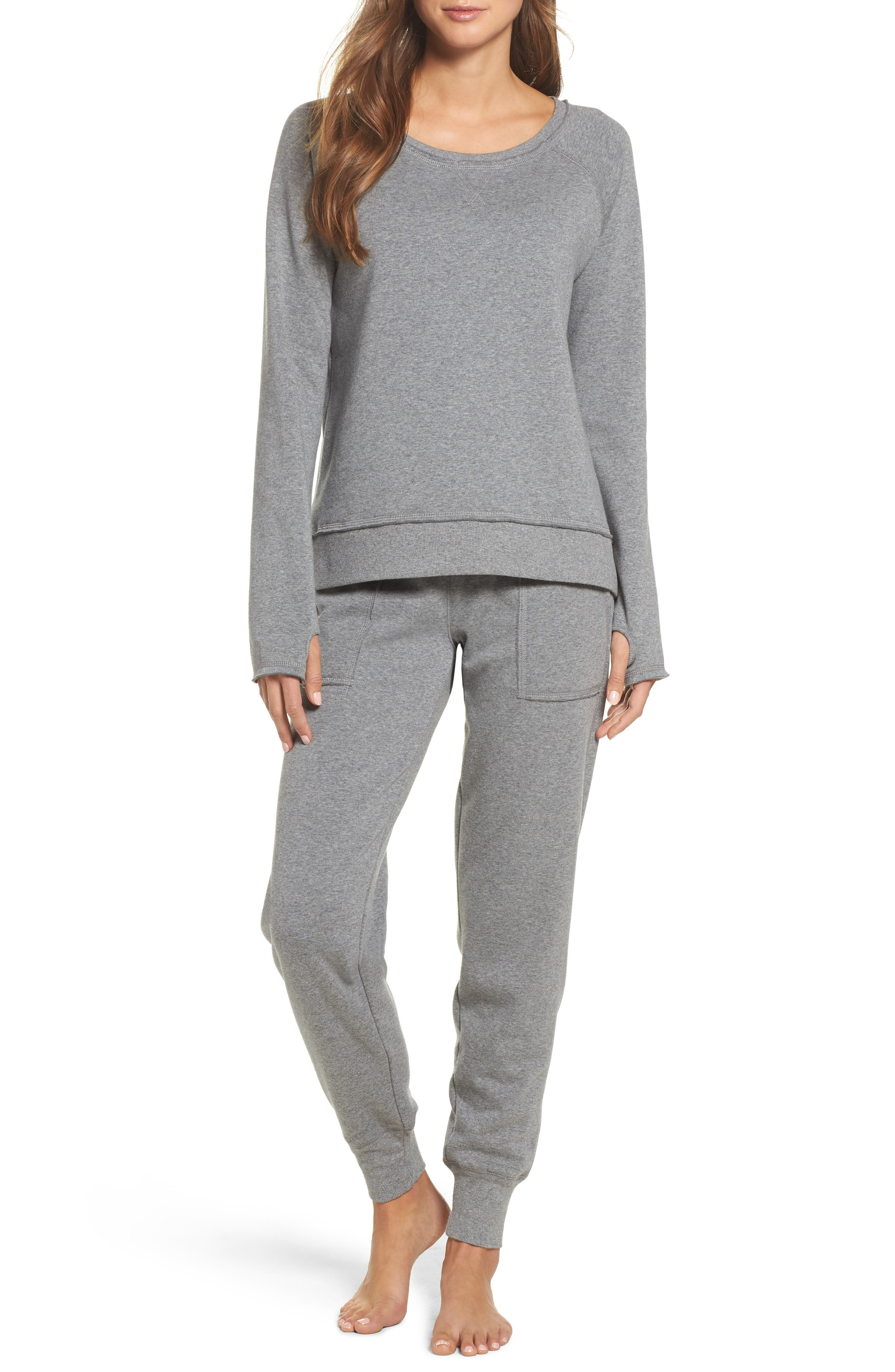 Fleece Sweatshirt,                             Alternate thumbnail 5, color,                             Heather Grey