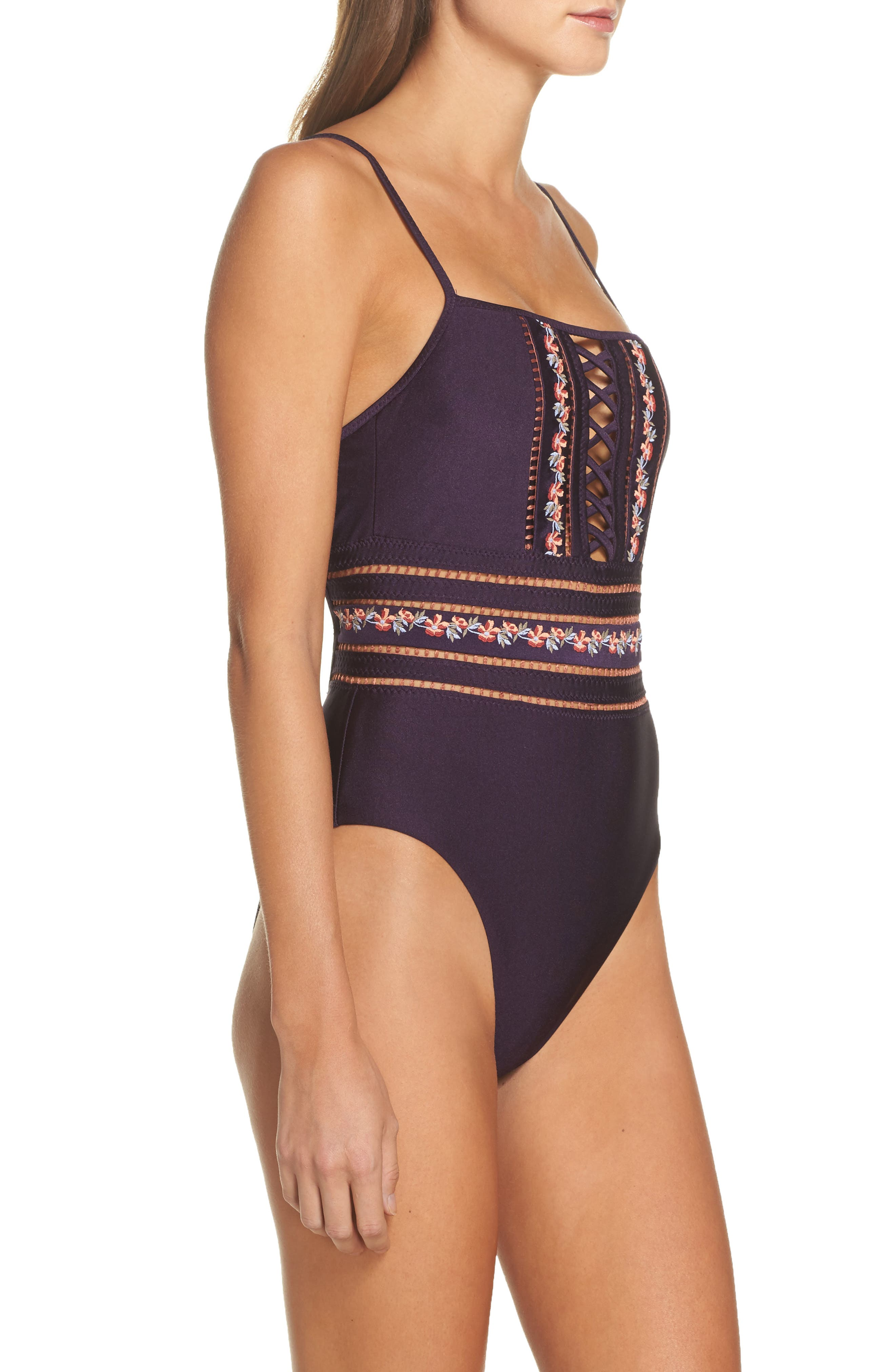 In the Mix One-Piece Swimsuit,                             Alternate thumbnail 3, color,                             Plum