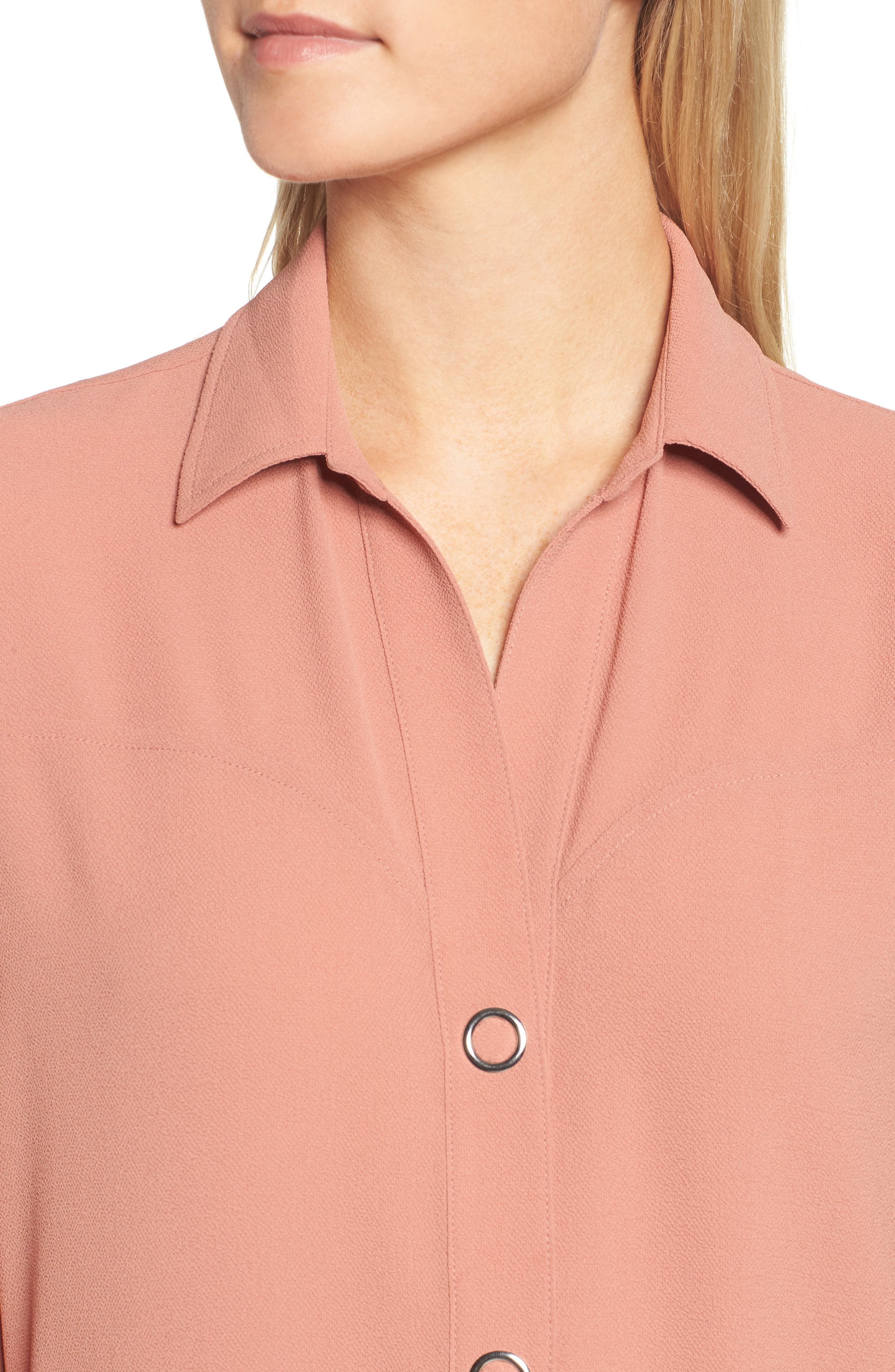 Snap Front Tunic,                             Alternate thumbnail 4, color,                             Coral Cedar