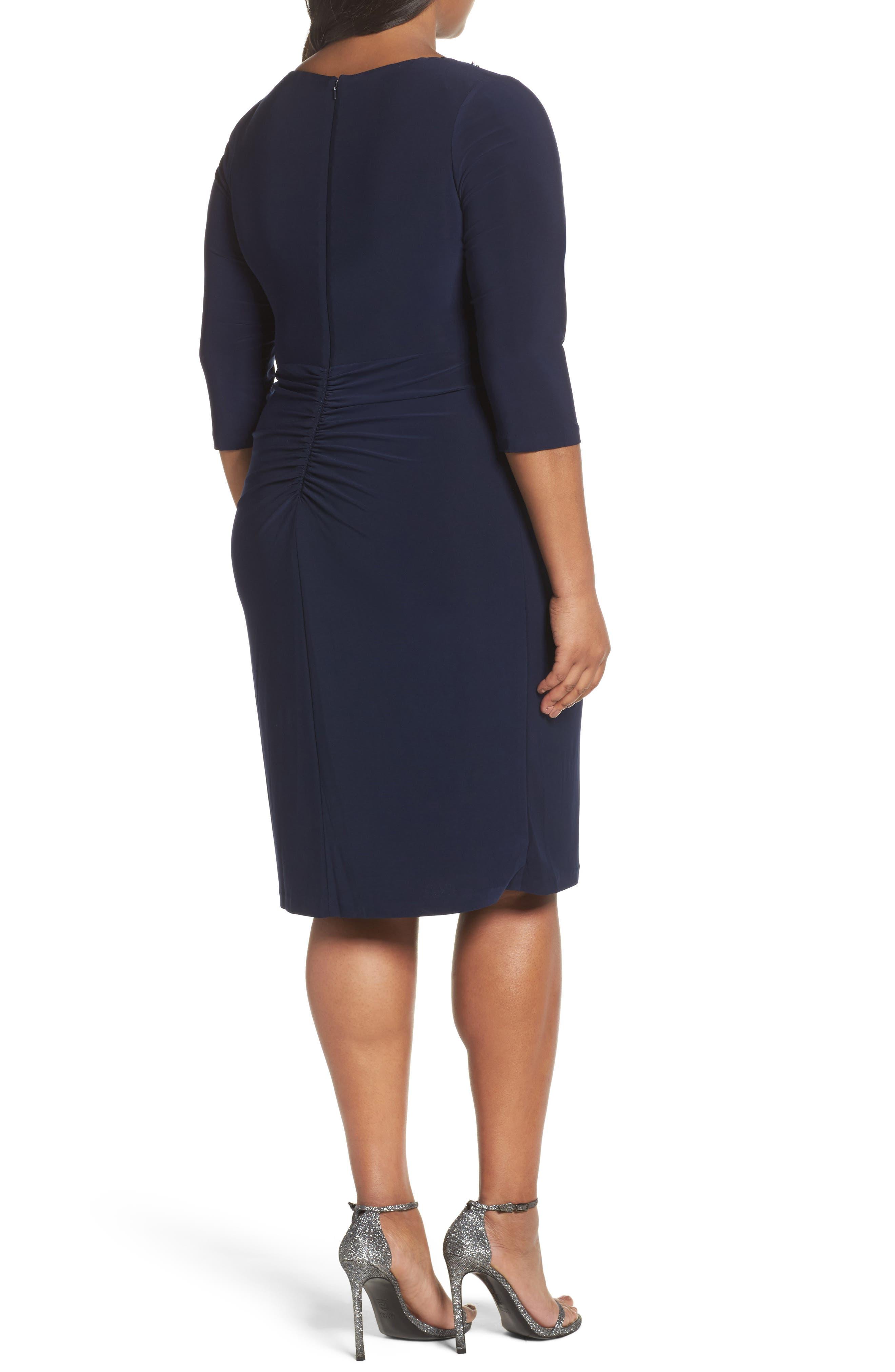 Alternate Image 2  - Alex Evenings Jewel Neck Twist Front Shift Dress (Plus Size)