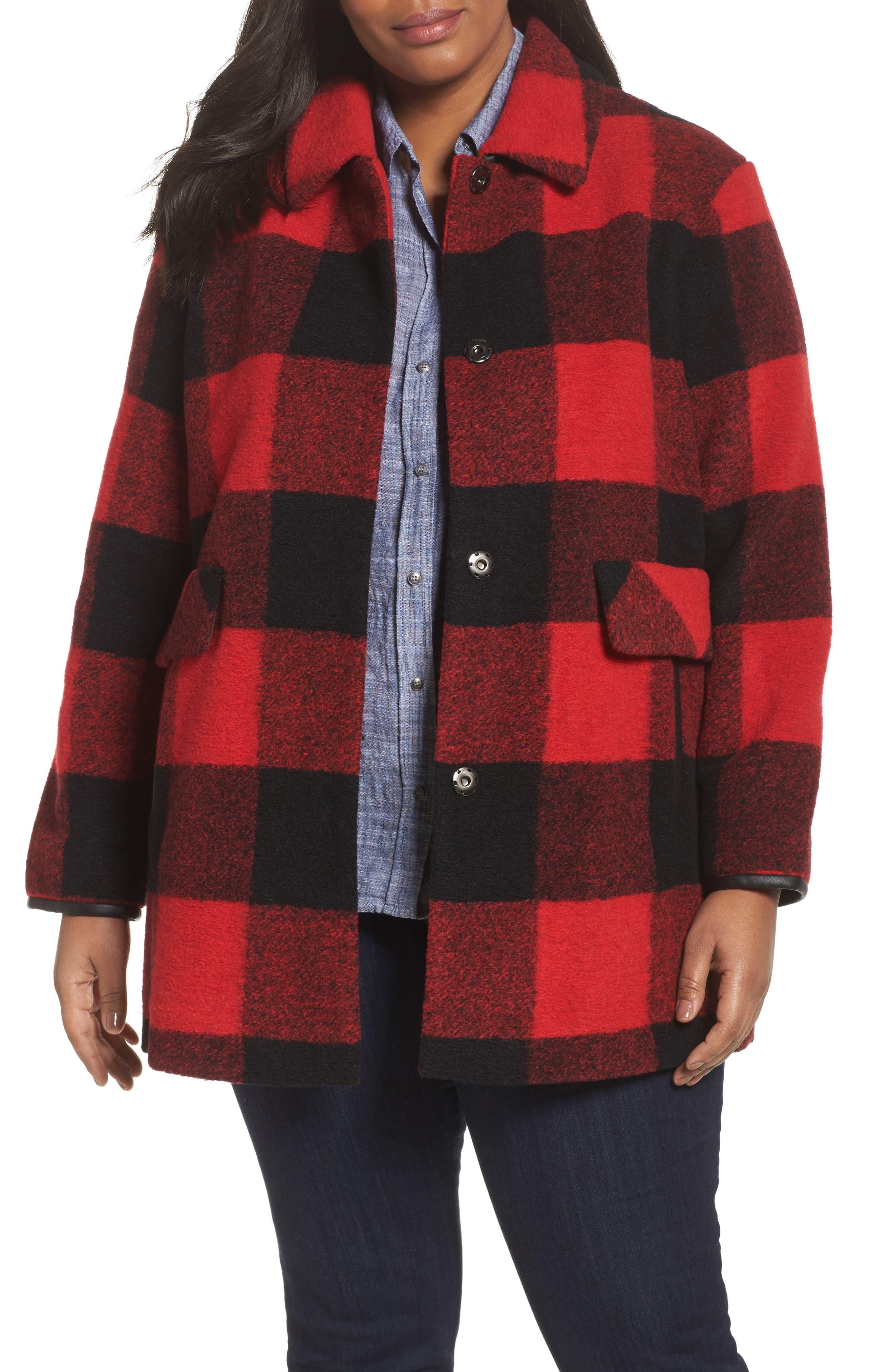 Alternate Image 1 Selected - Pendleton Paul Bunyan Plaid Wool Blend Barn Coat (Plus Size)