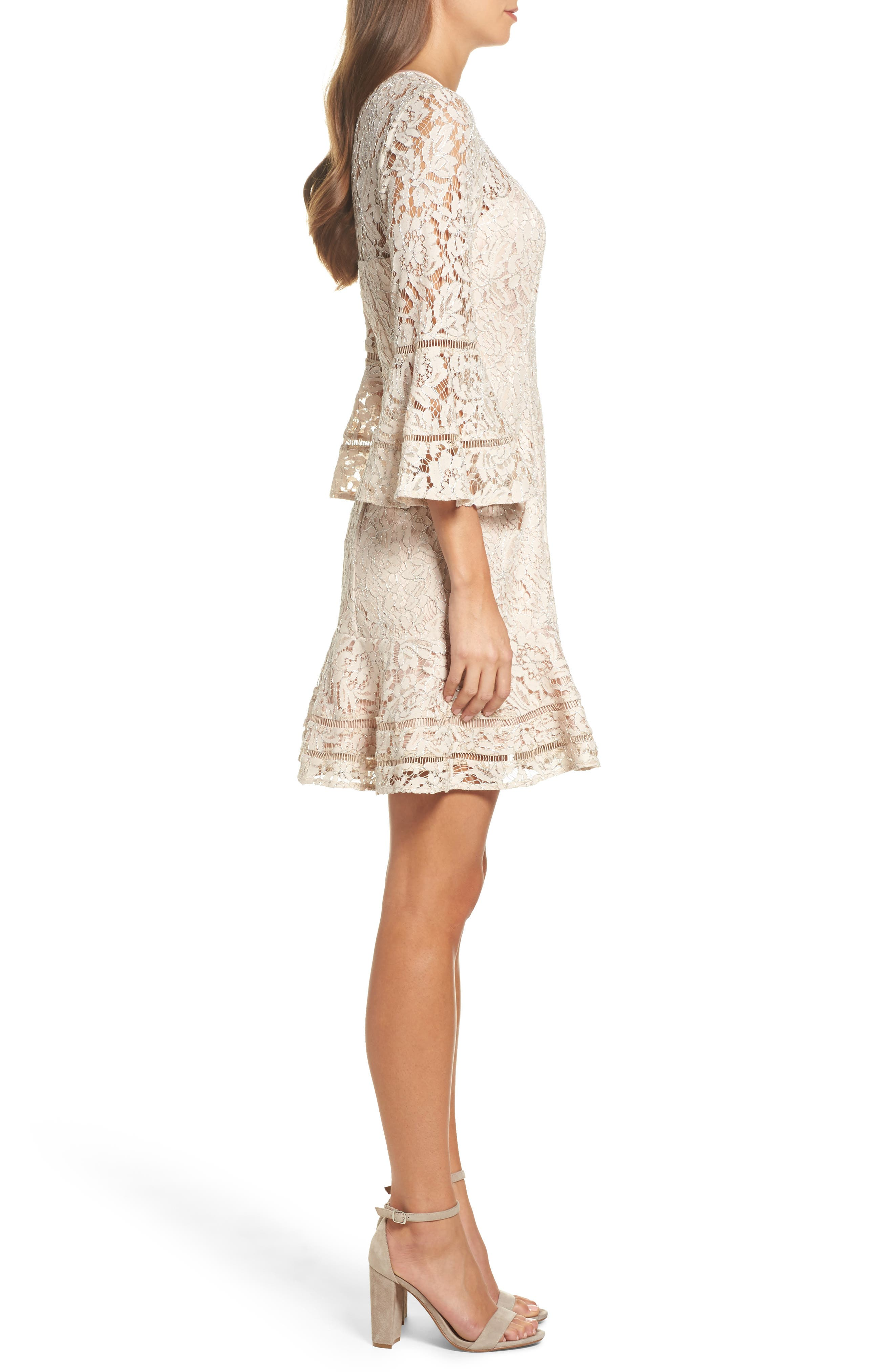 Lace Bell Sleeve Dress,                             Alternate thumbnail 3, color,                             Blush/ Silver