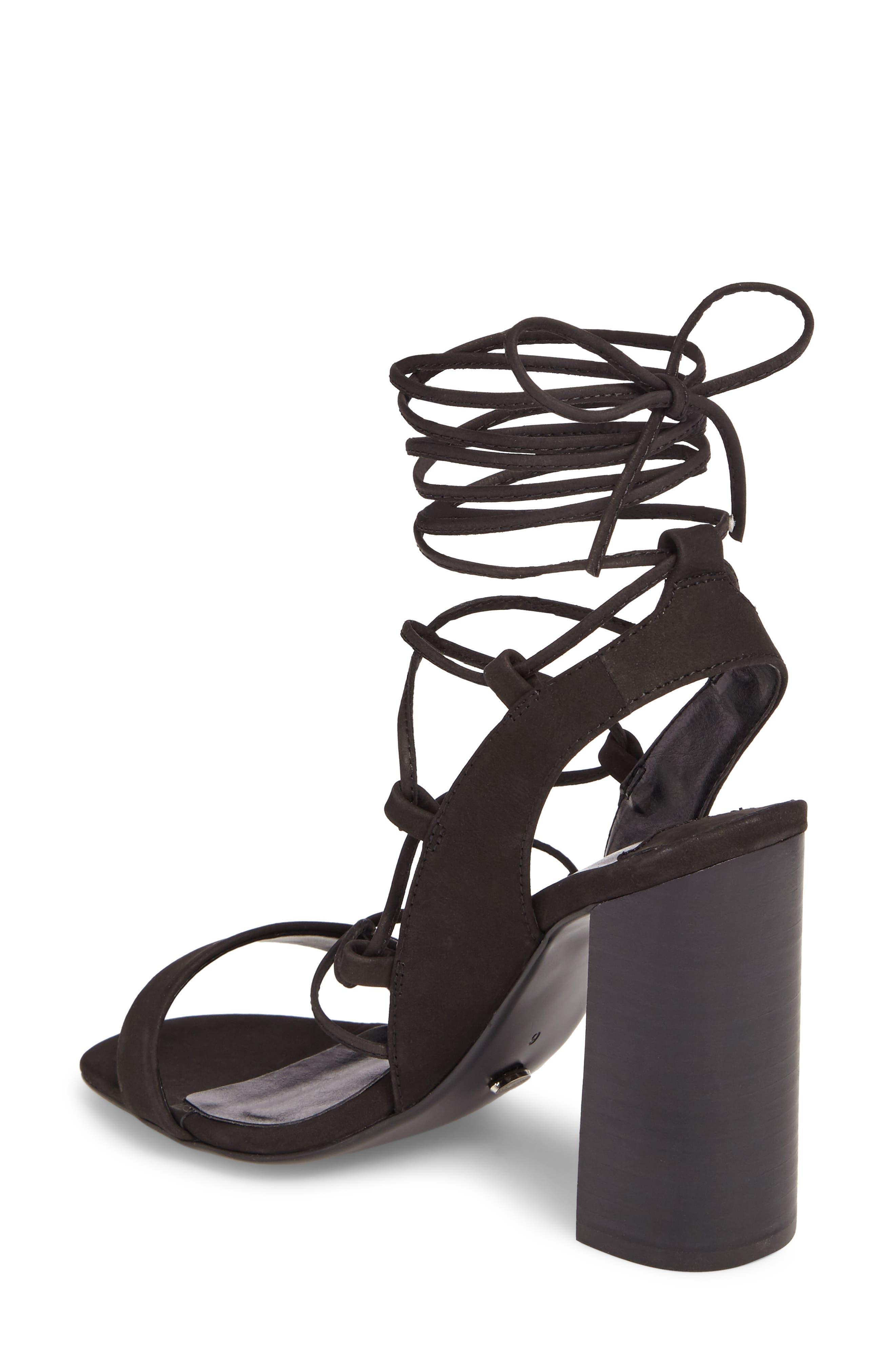 Dani Ghillie Flared Heel Sandal,                             Alternate thumbnail 2, color,                             Black Phoenix Nubuck Leather