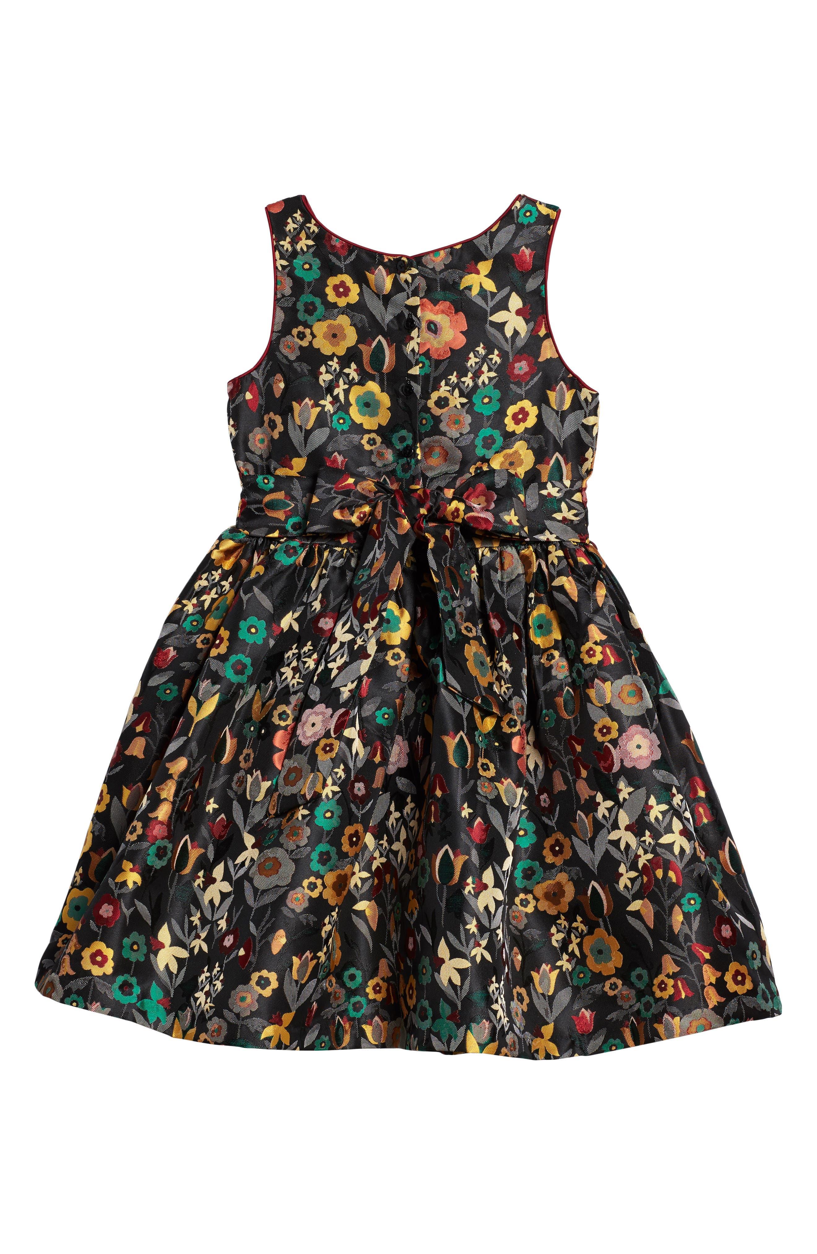 Floral Brocade Dress,                             Alternate thumbnail 2, color,                             Gold Floral Multi