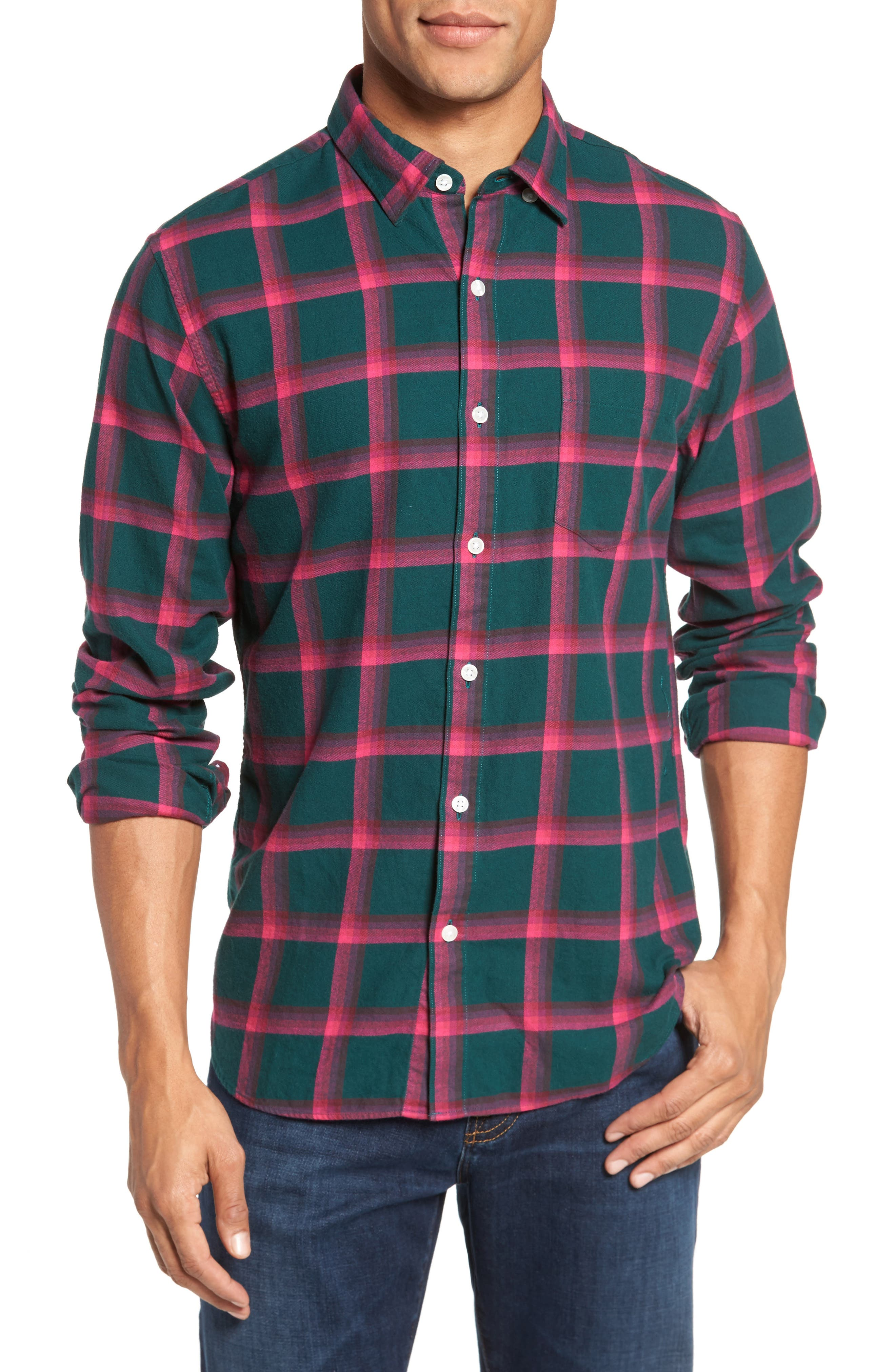 Slim Fit Brushed Windowpane Sport Shirt,                         Main,                         color, Hester Plaid/ Green