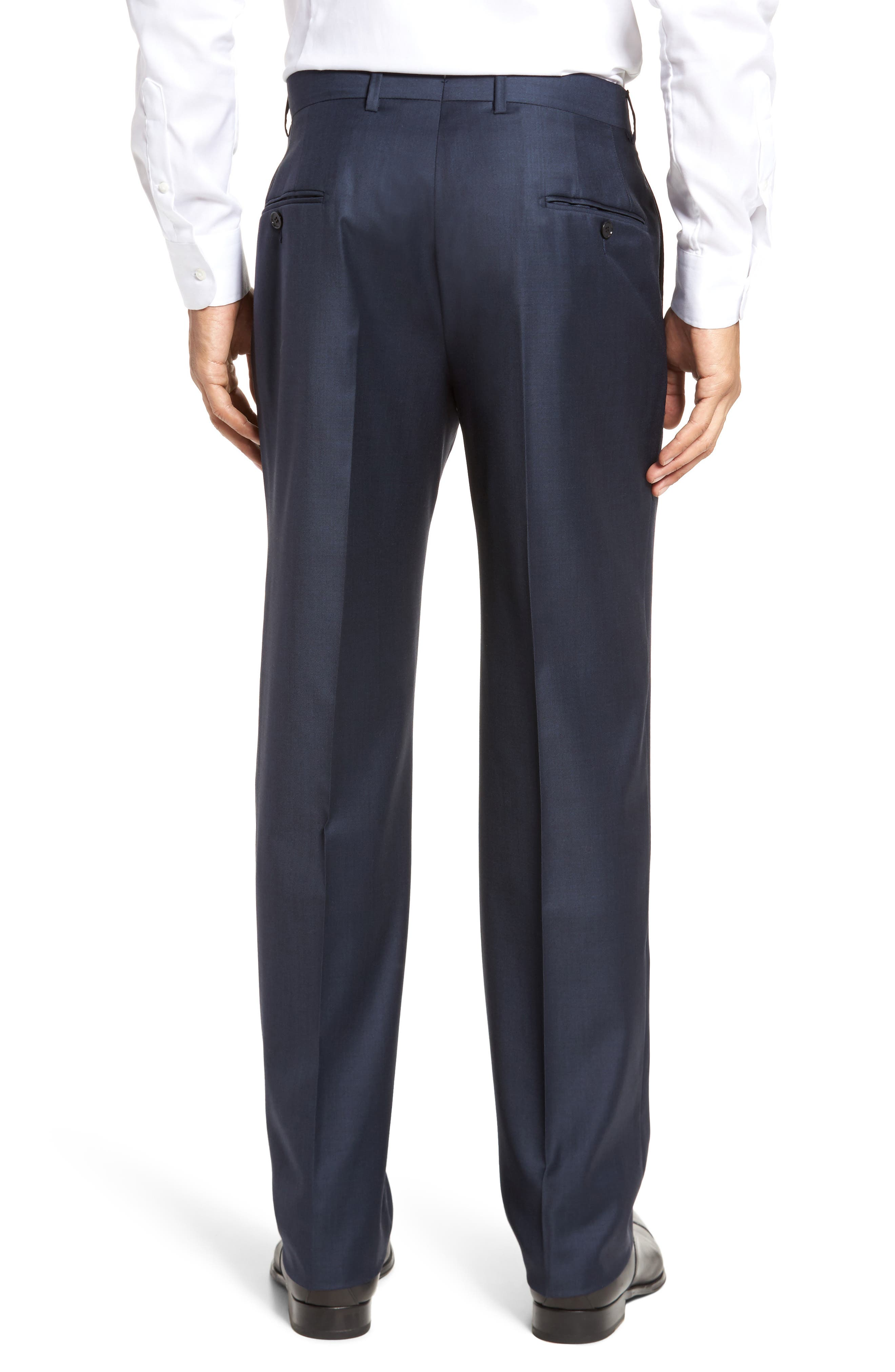 Classic B Fit Flat Front Solid Wool Trousers,                             Alternate thumbnail 2, color,                             Navy Sharkskin