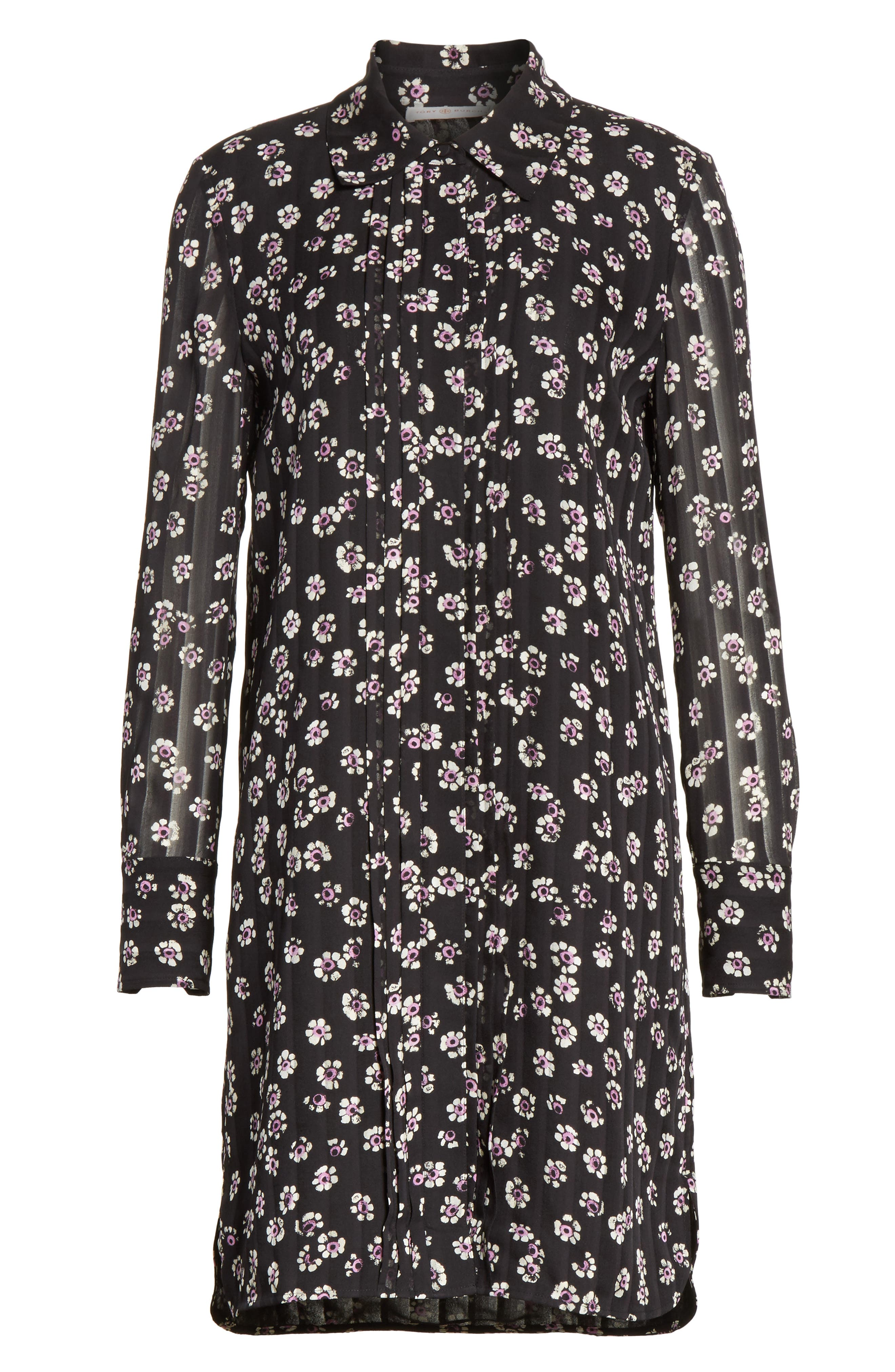 Avery Floral Silk Shirtdress,                             Alternate thumbnail 6, color,                             Black Stamped Floral