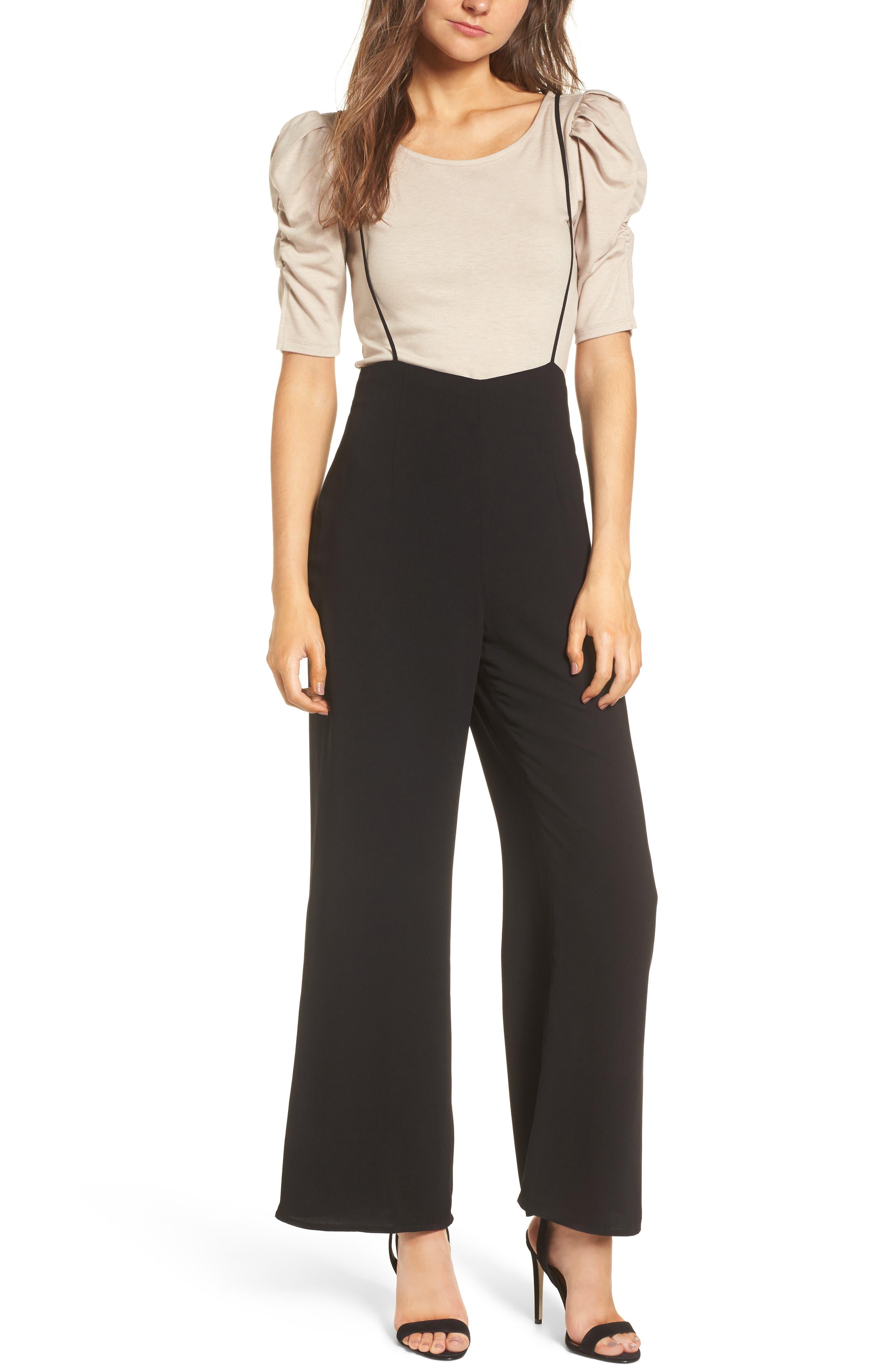Suspender Pants,                             Main thumbnail 1, color,                             Black