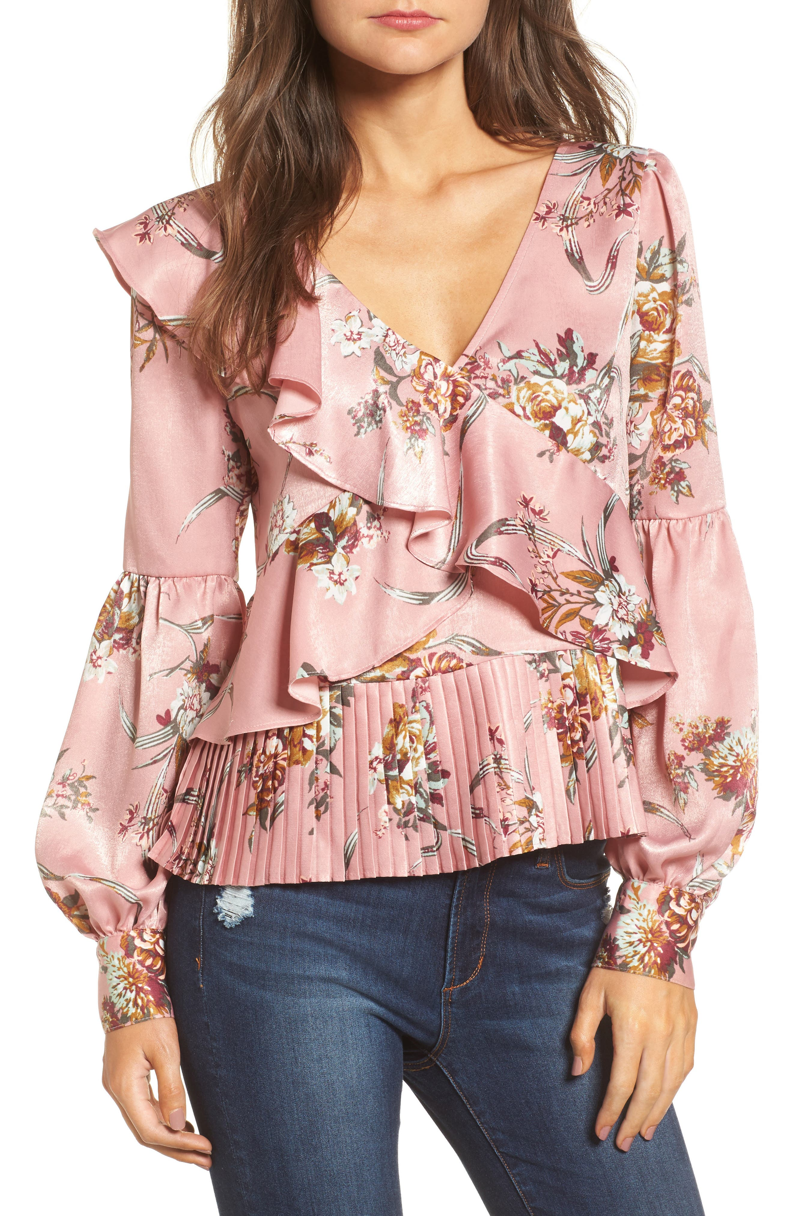 Asymmetrical Ruffle Top,                         Main,                         color, Pink Zephyr Antoinette Floral