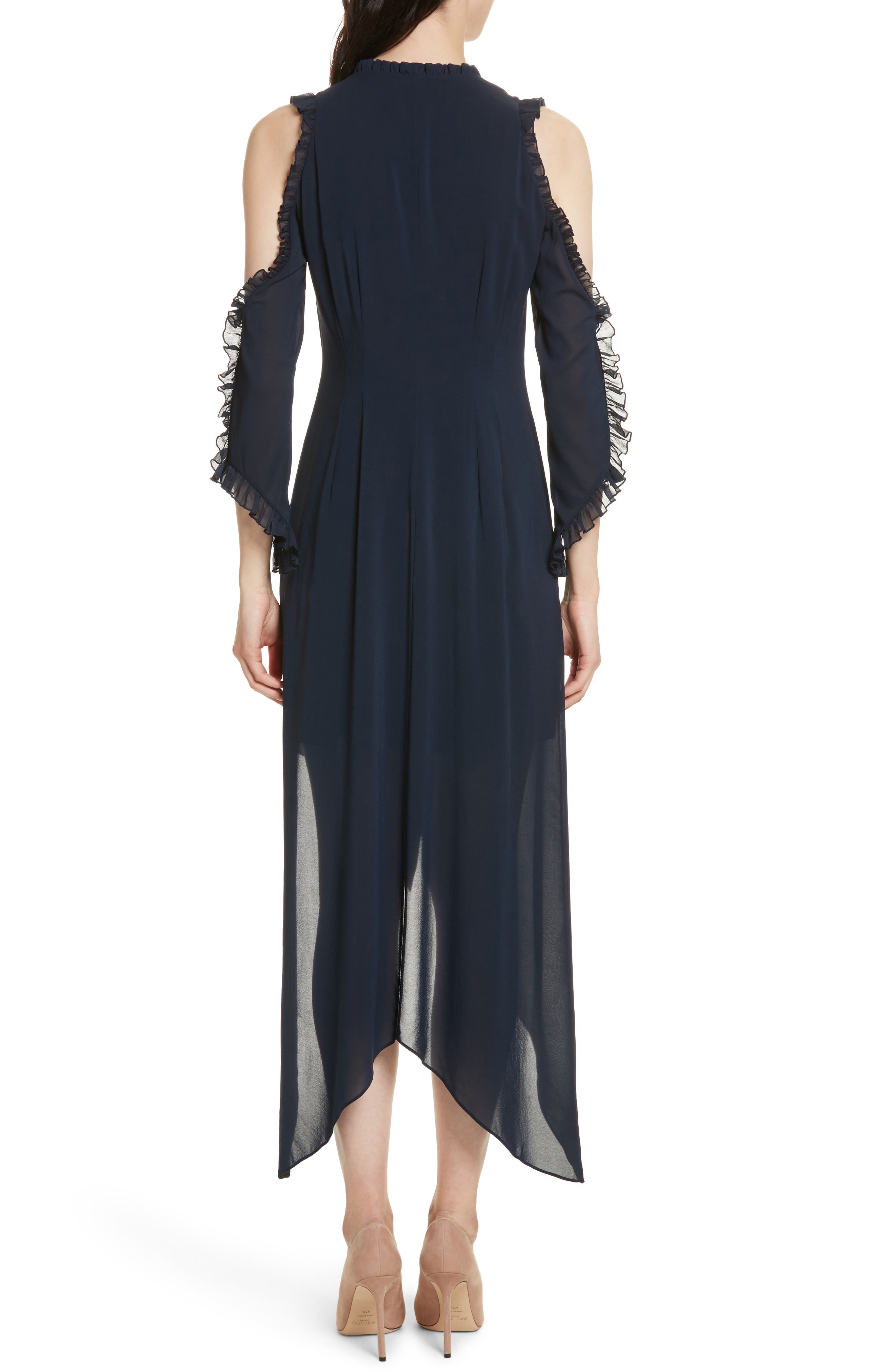 Claudie Ruffle Button-Down Maxi Dress,                             Alternate thumbnail 2, color,                             Sapphire