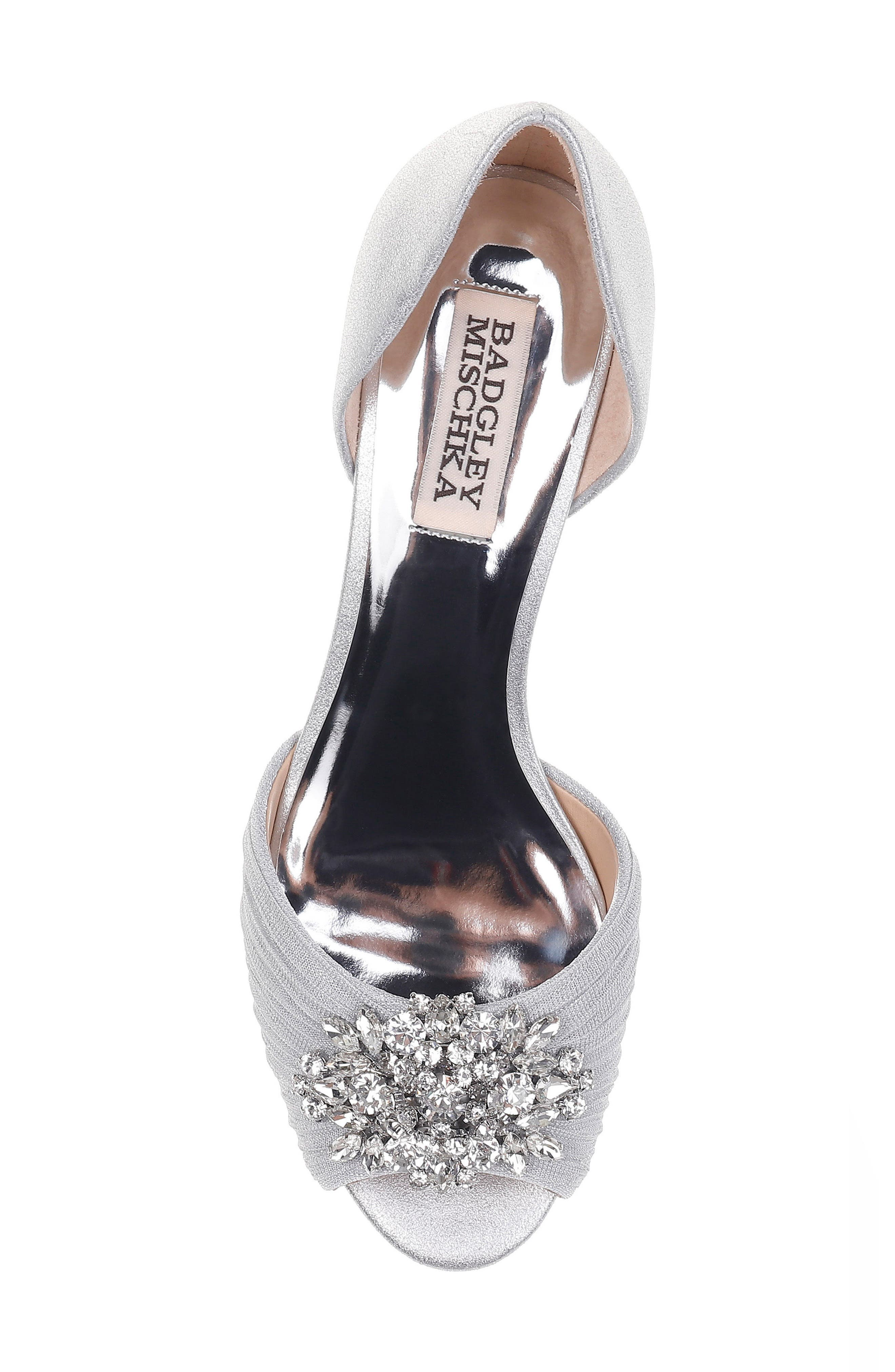 Sabine II Peep Toe Pump,                             Alternate thumbnail 5, color,                             Silver Satin