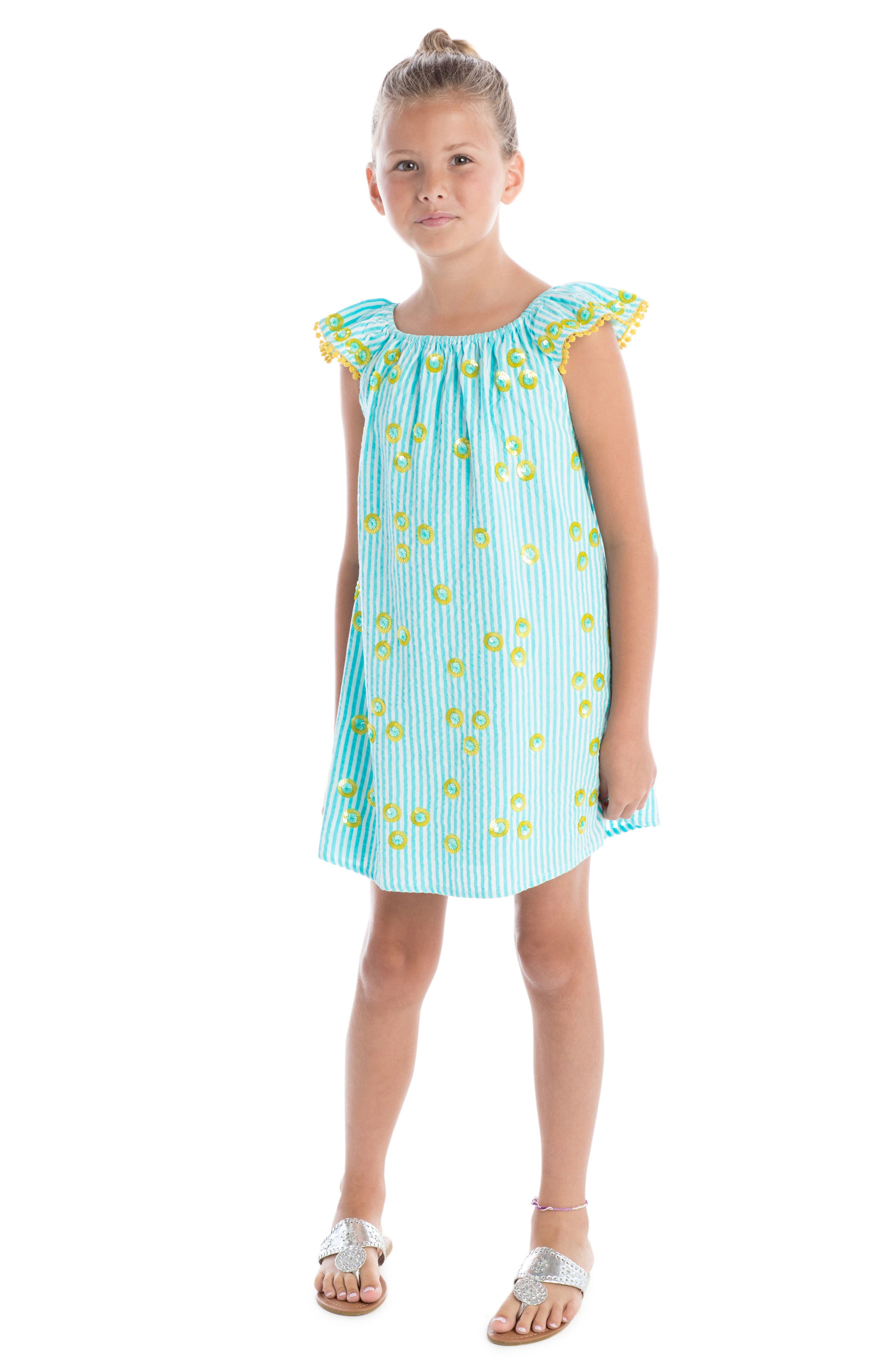 Daisy Flutter Sleeve Dress,                             Alternate thumbnail 2, color,                             Turquoise