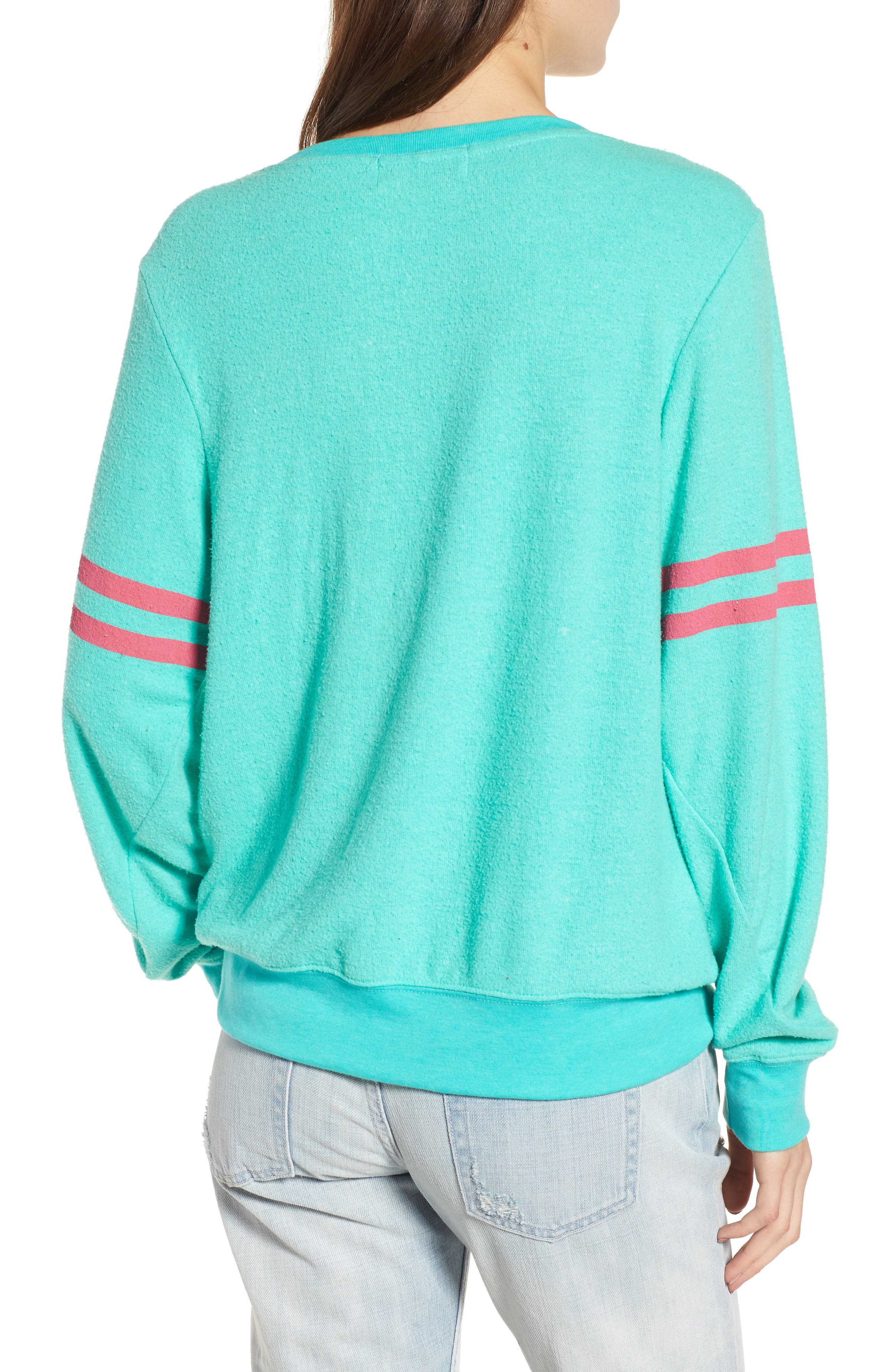 Stripe Sweatshirt,                             Alternate thumbnail 2, color,                             Mint Chip