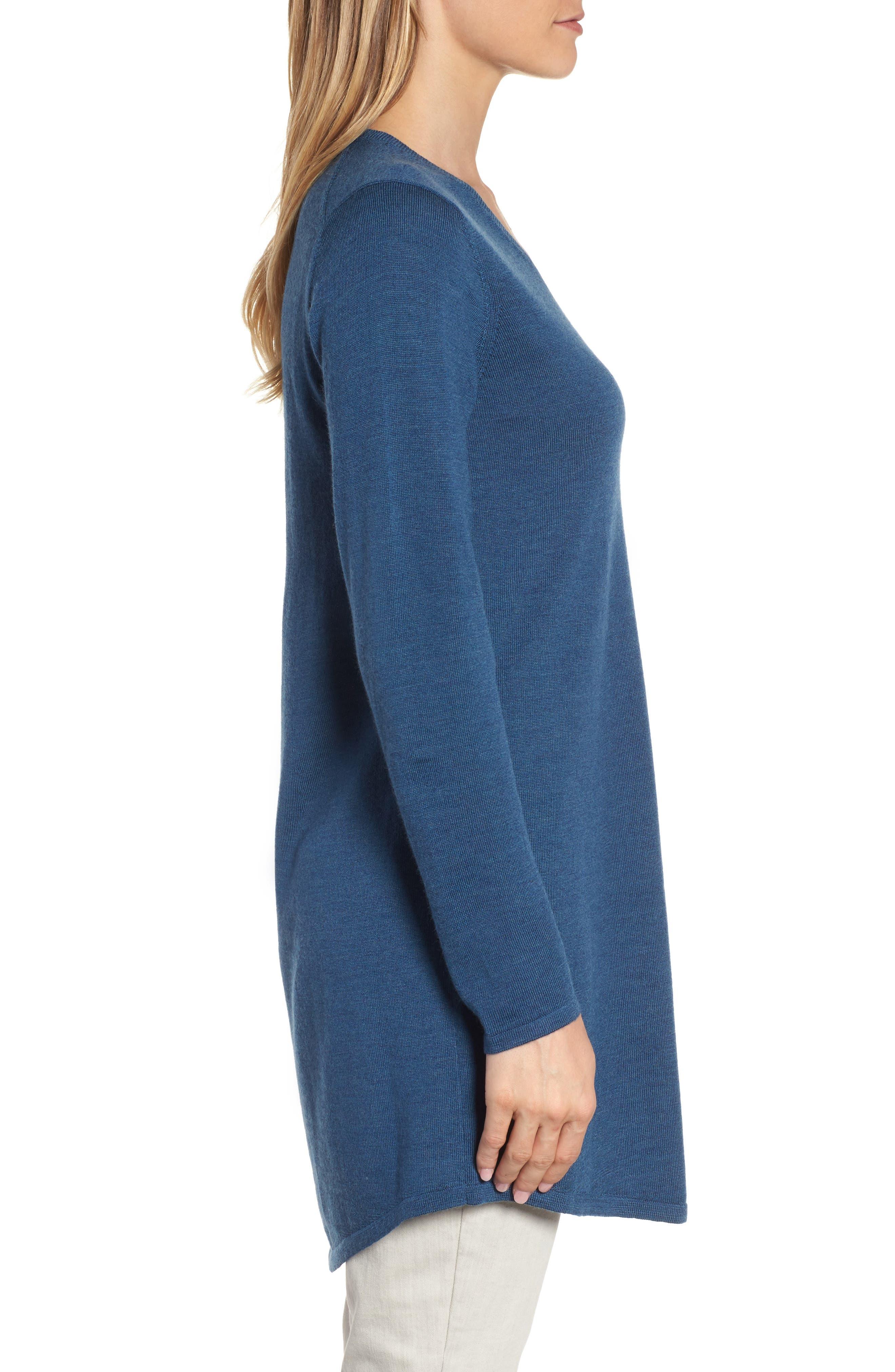 Alternate Image 3  - Eileen Fisher Lightweight Merino Jersey V-Neck Tunic (Regular & Petite)