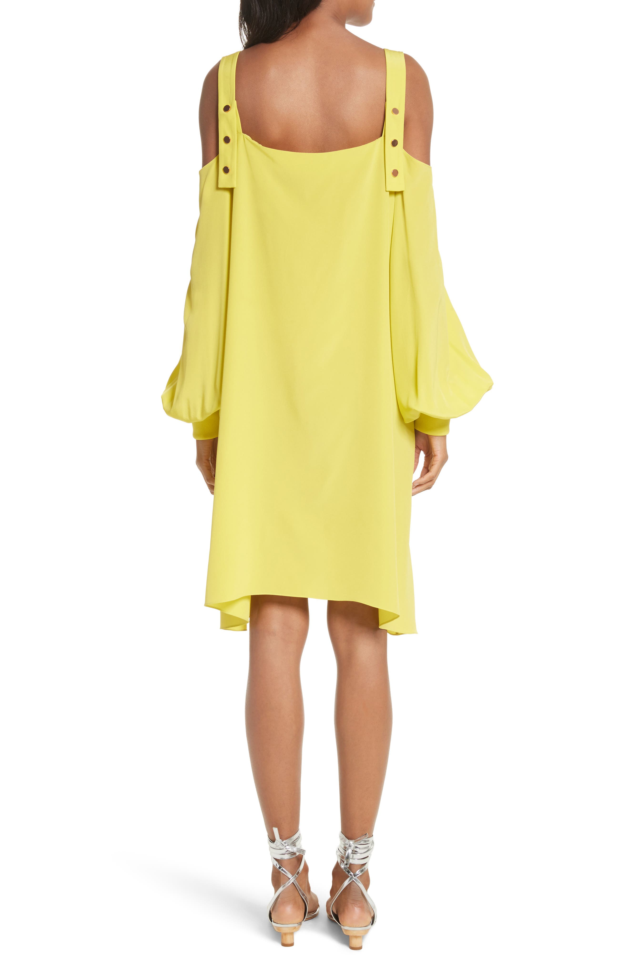 Strappy Back Silk Dress,                             Alternate thumbnail 2, color,                             Vibrant Yellow