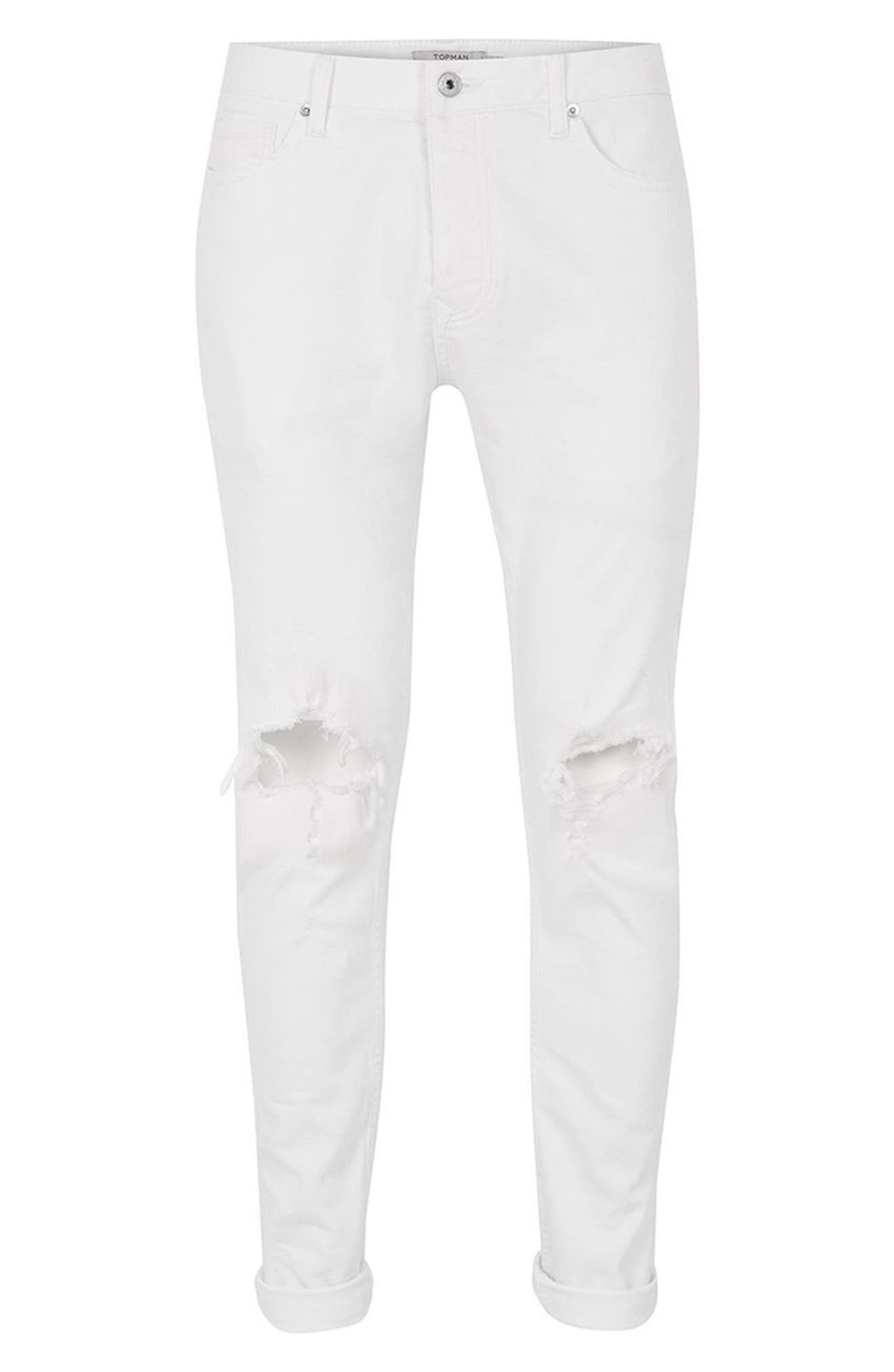 Ripped Skinny Jeans,                             Alternate thumbnail 4, color,                             White