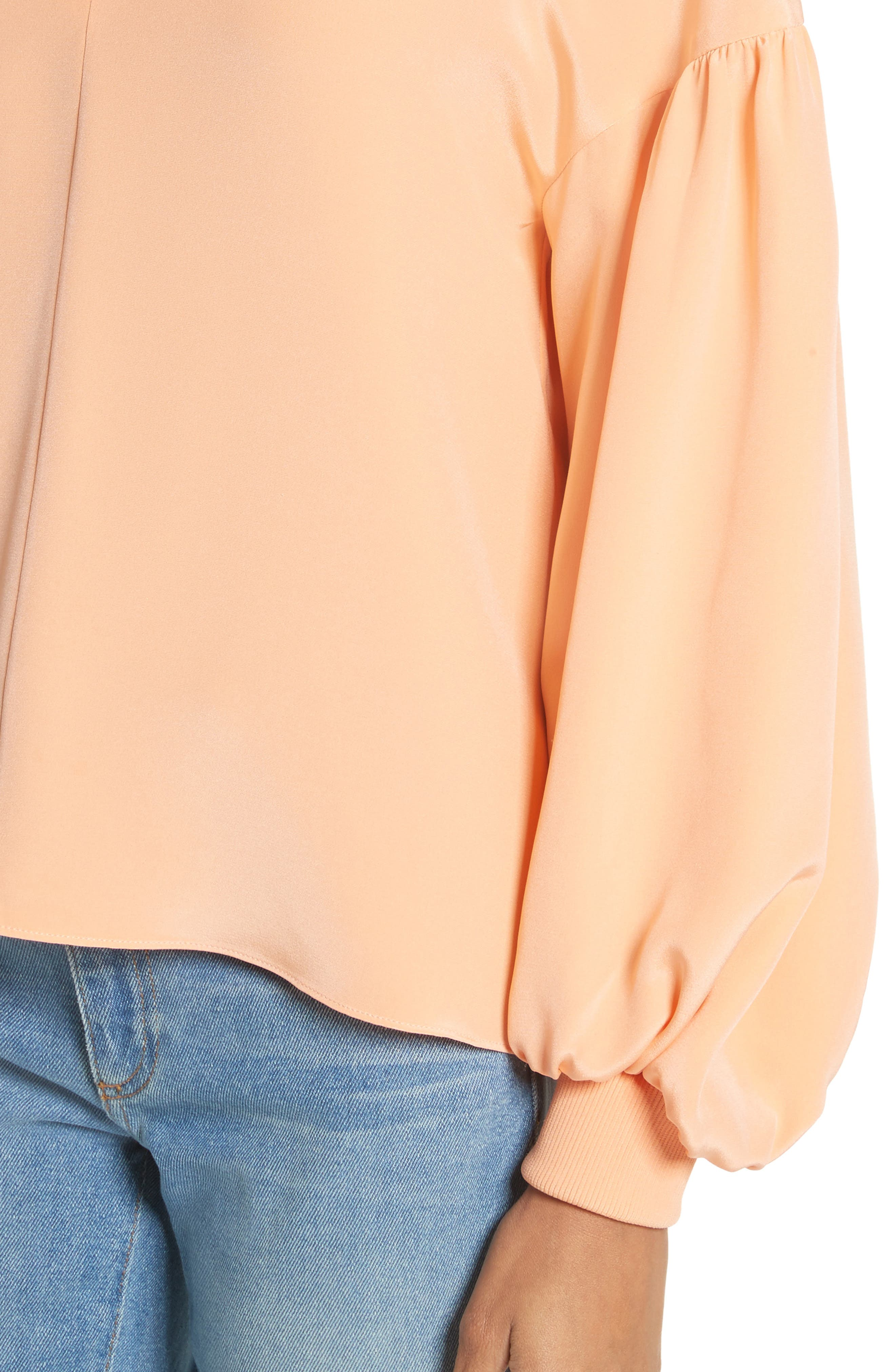 Blouson Sleeve Four-Ply Silk Top,                             Alternate thumbnail 4, color,                             Apricot