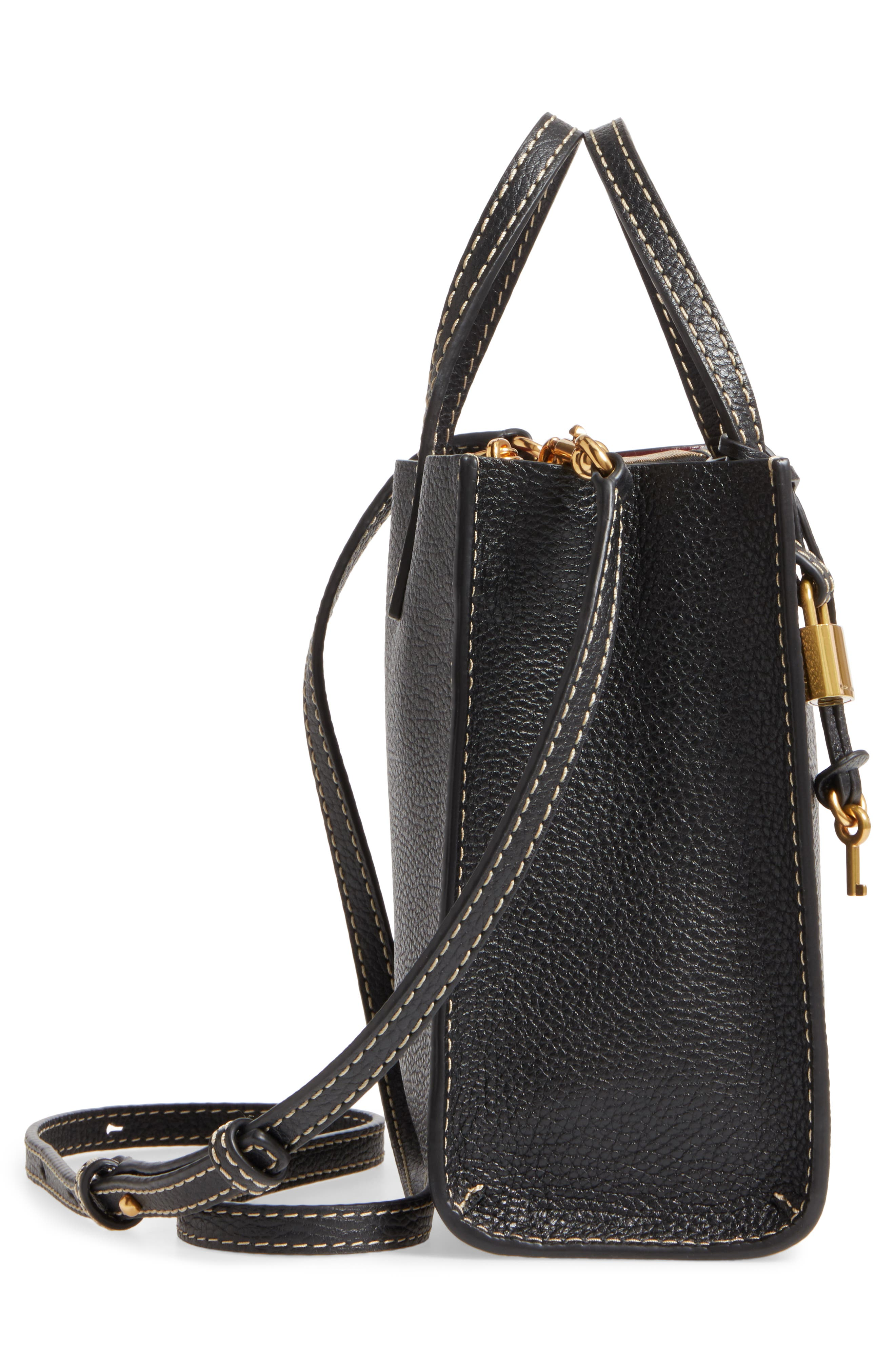 The Grind Mini Colorblock Leather Tote,                             Alternate thumbnail 5, color,                             Black/ Gold